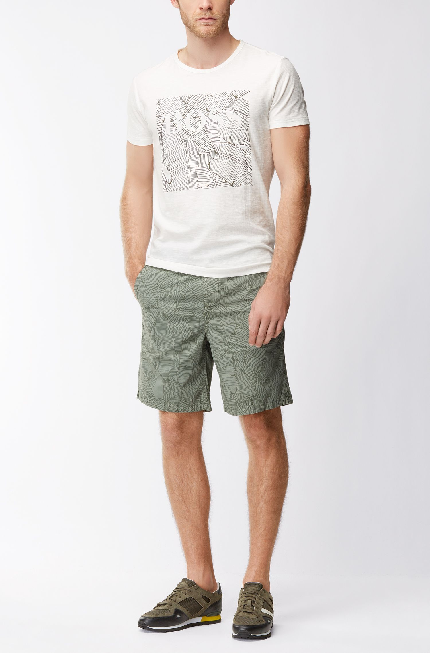 Leaf-Print Cotton Graphic T-Shirt | Tarit, Natural
