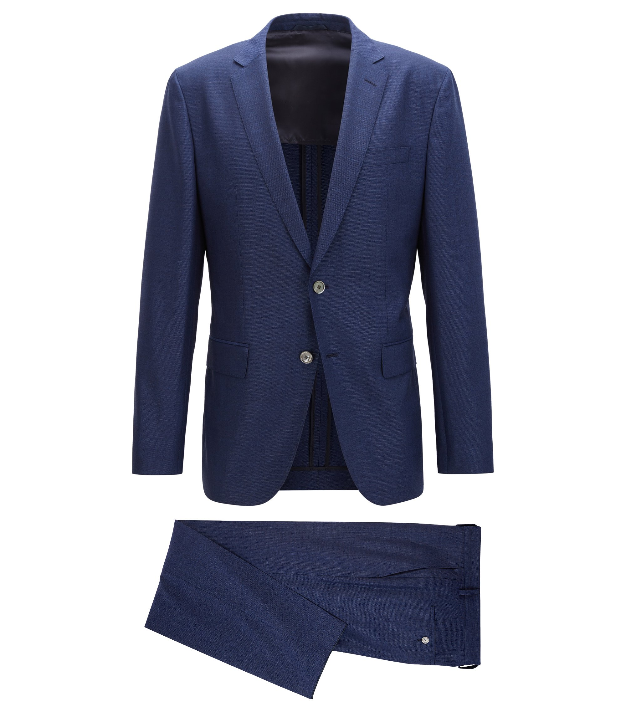Virgin Wool Silk Suit, Slim Fit | Helford/Gander, Blue