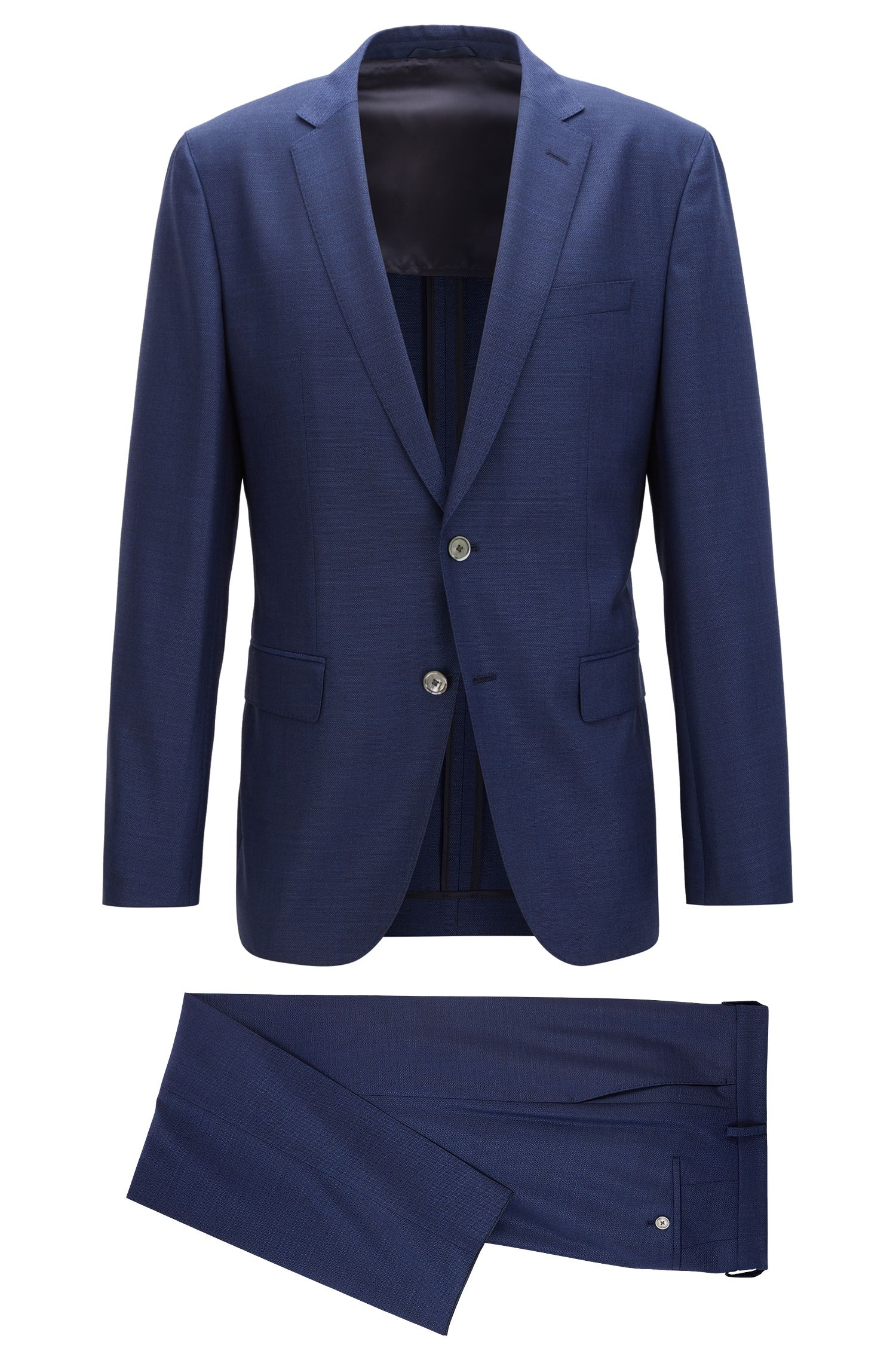 Virgin Wool Silk Suit, Slim Fit | Helford/Gander