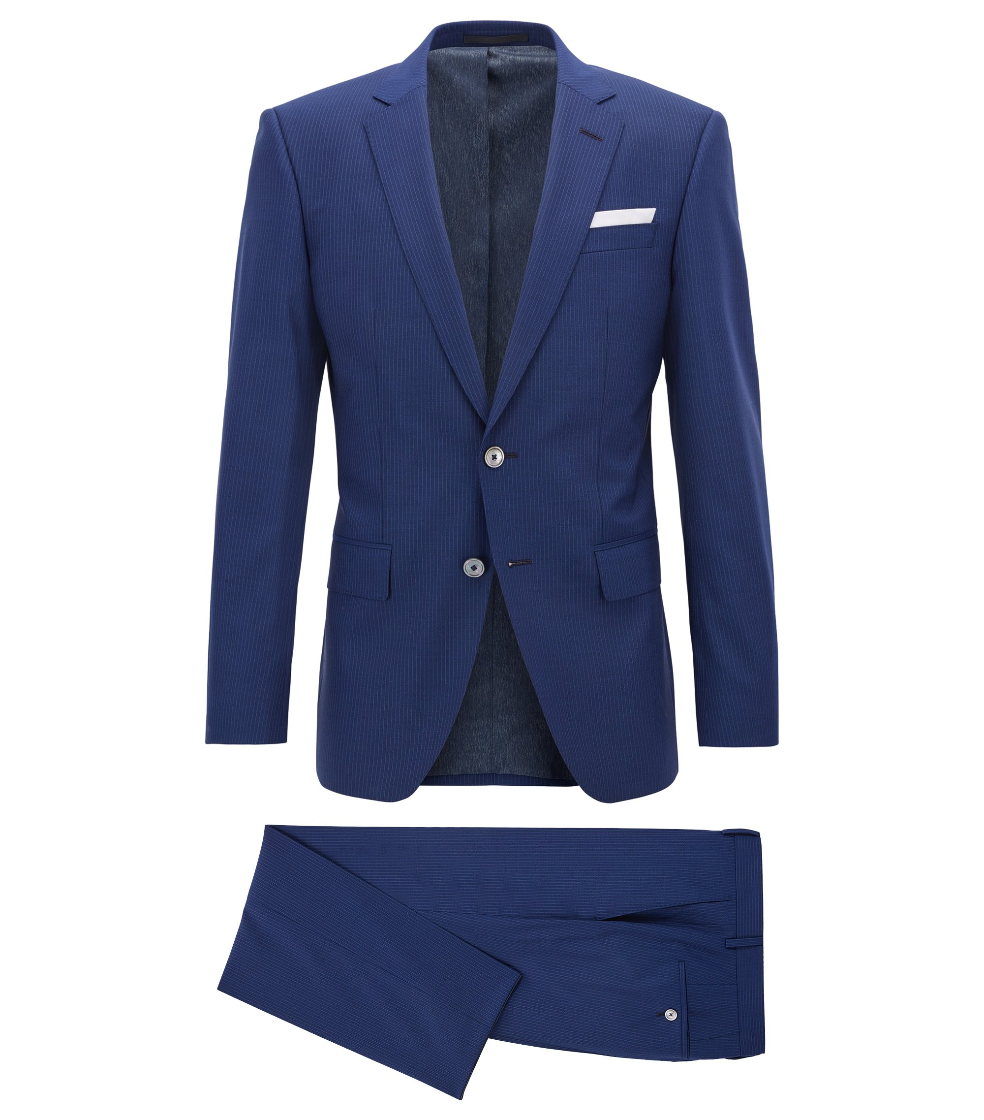 Pinstriped Virgin Wool Silk Suit, Slim Fit | Hutson/Gander, Dark Blue