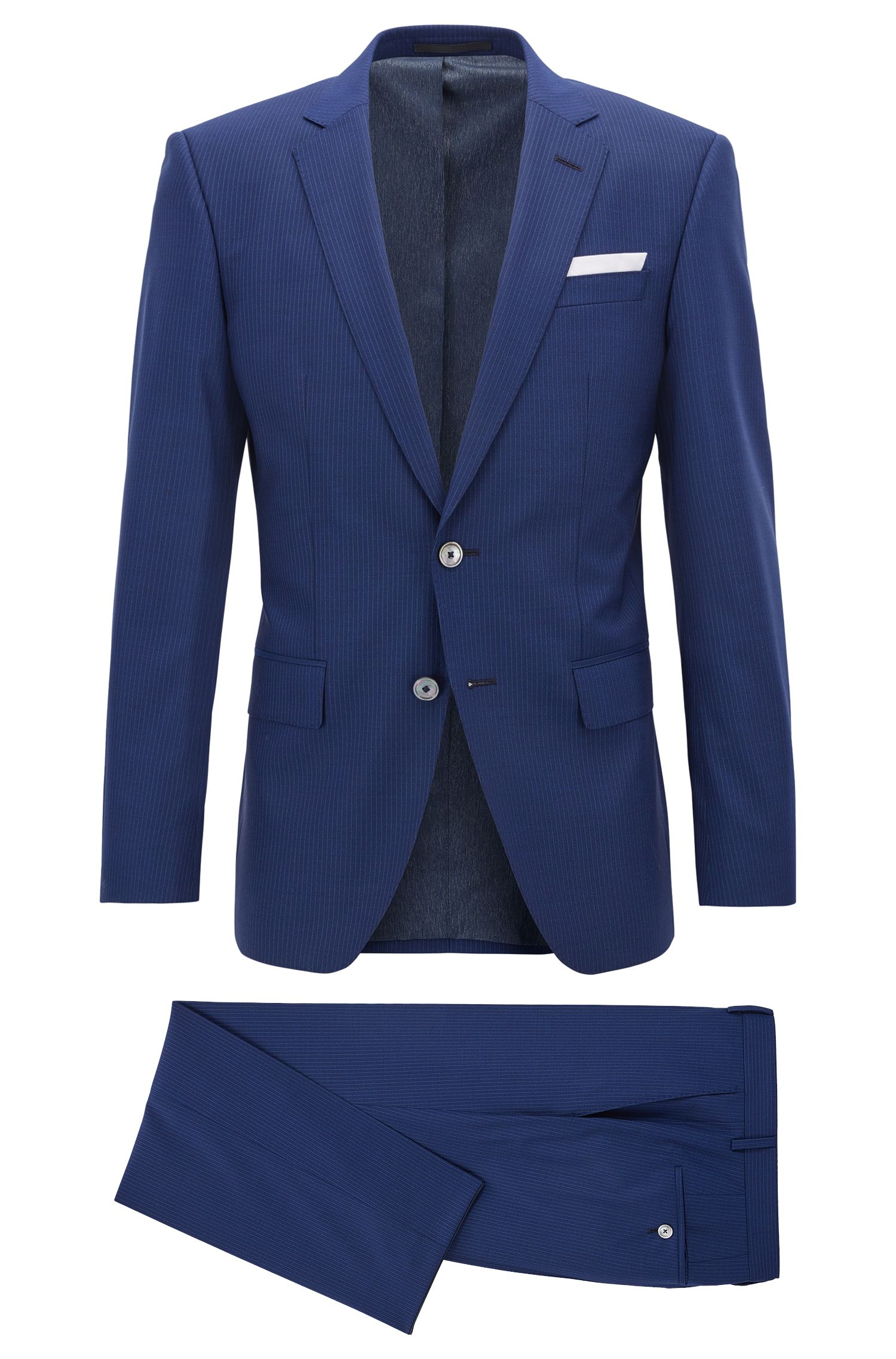 Pinstriped Virgin Wool Silk Suit, Slim Fit | Hutson/Gander