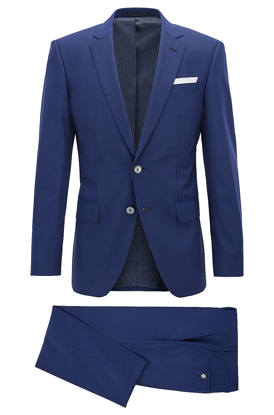 Pinstriped Virgin Wool Silk Suit, Slim Fit   Hutson/Gander, Dark Blue