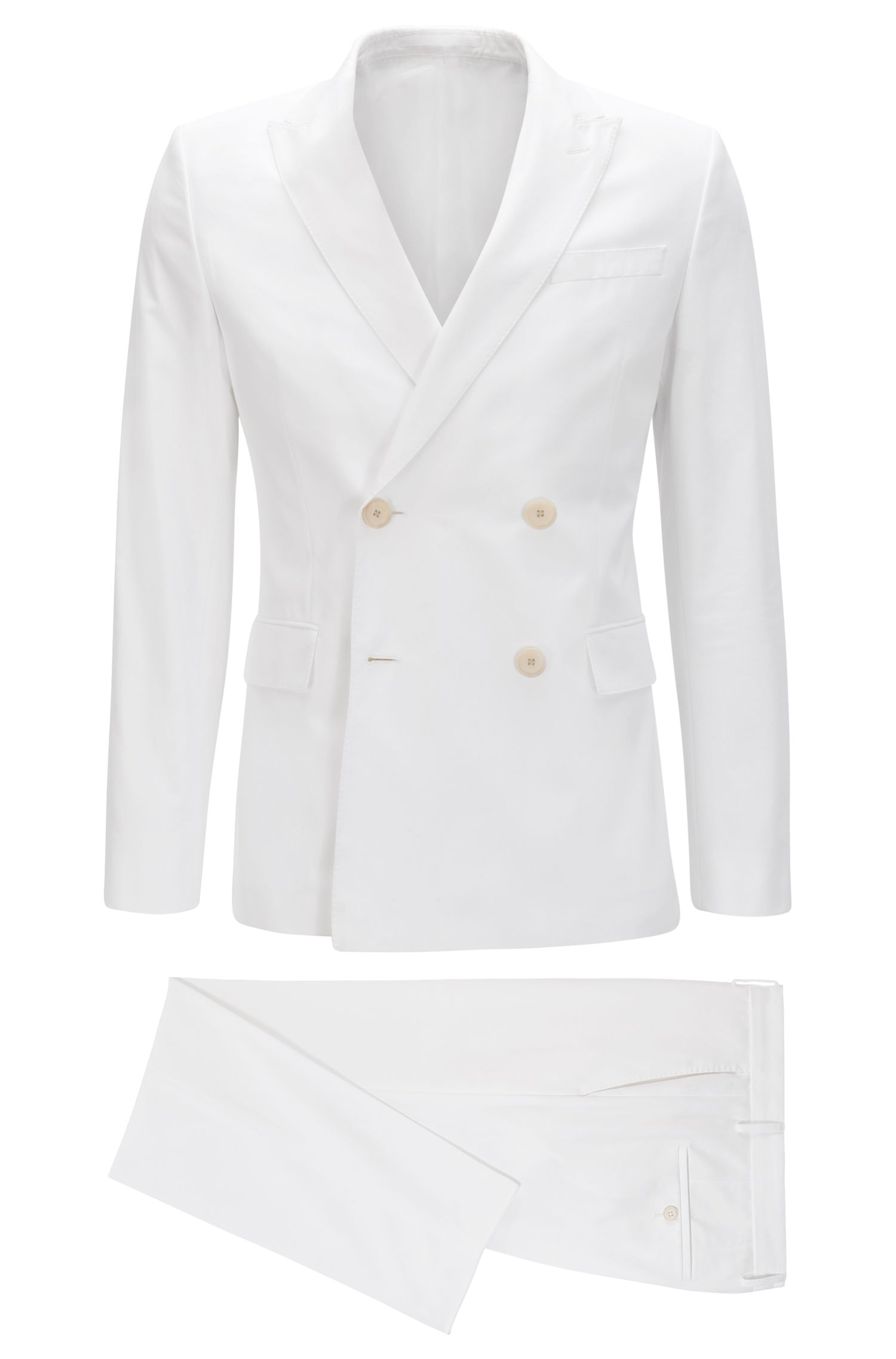 Italian Cotton Double-Breasted Suit, Slim Fit | Nami/Ben , White