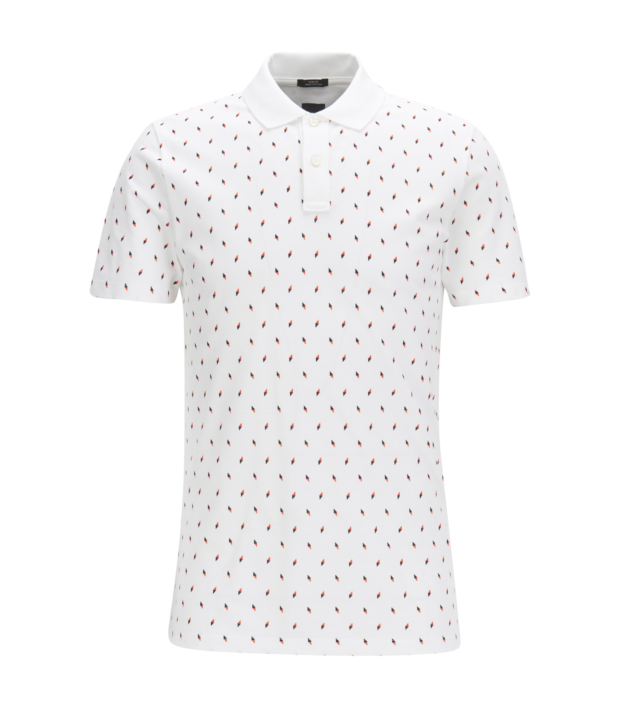 Cotton Blend Polo Shirt, Slim Fit | Plater 06, White