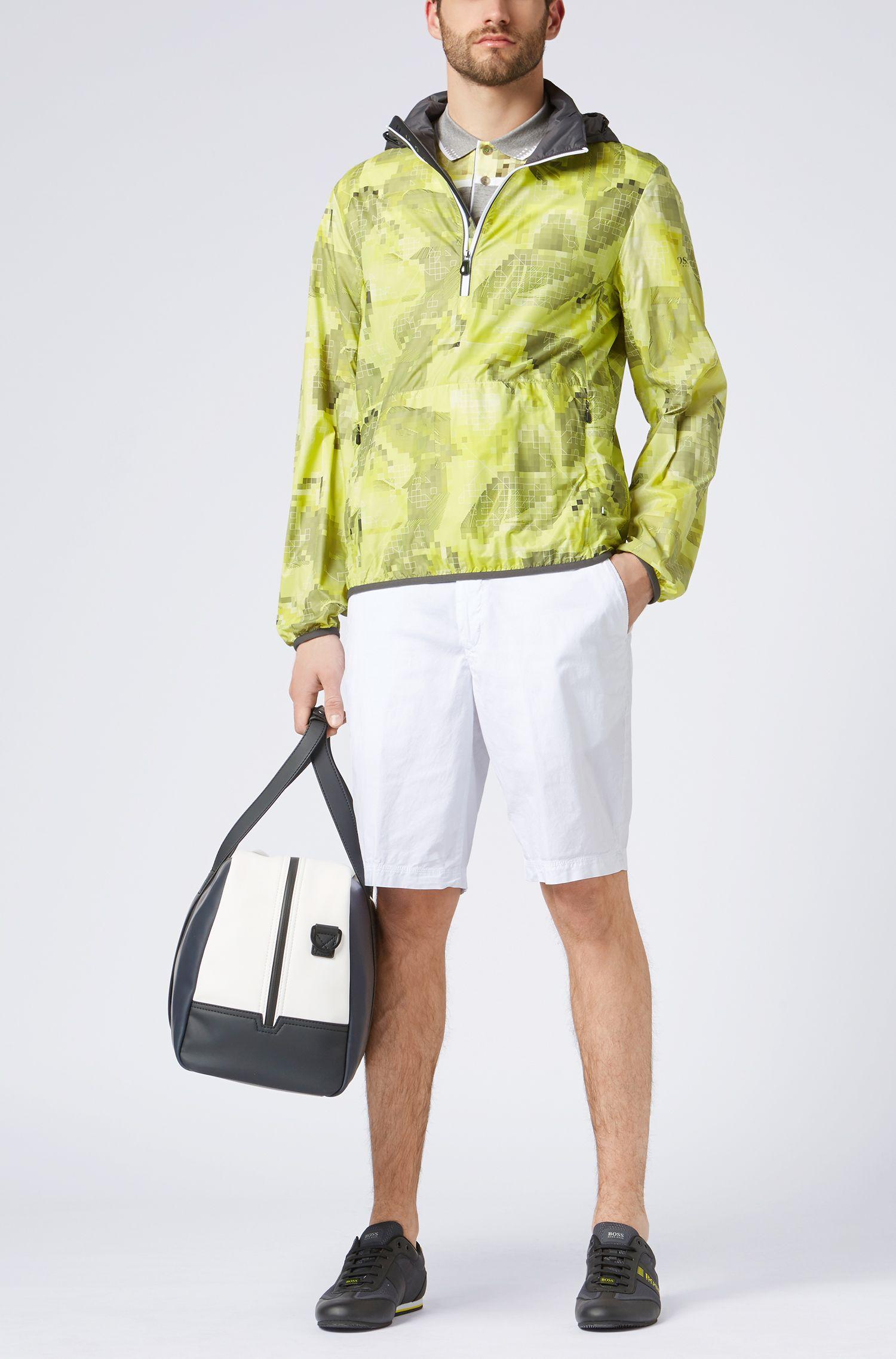 Geometric Mercerized Cotton Polo Shirt, Slim Fit | Paule
