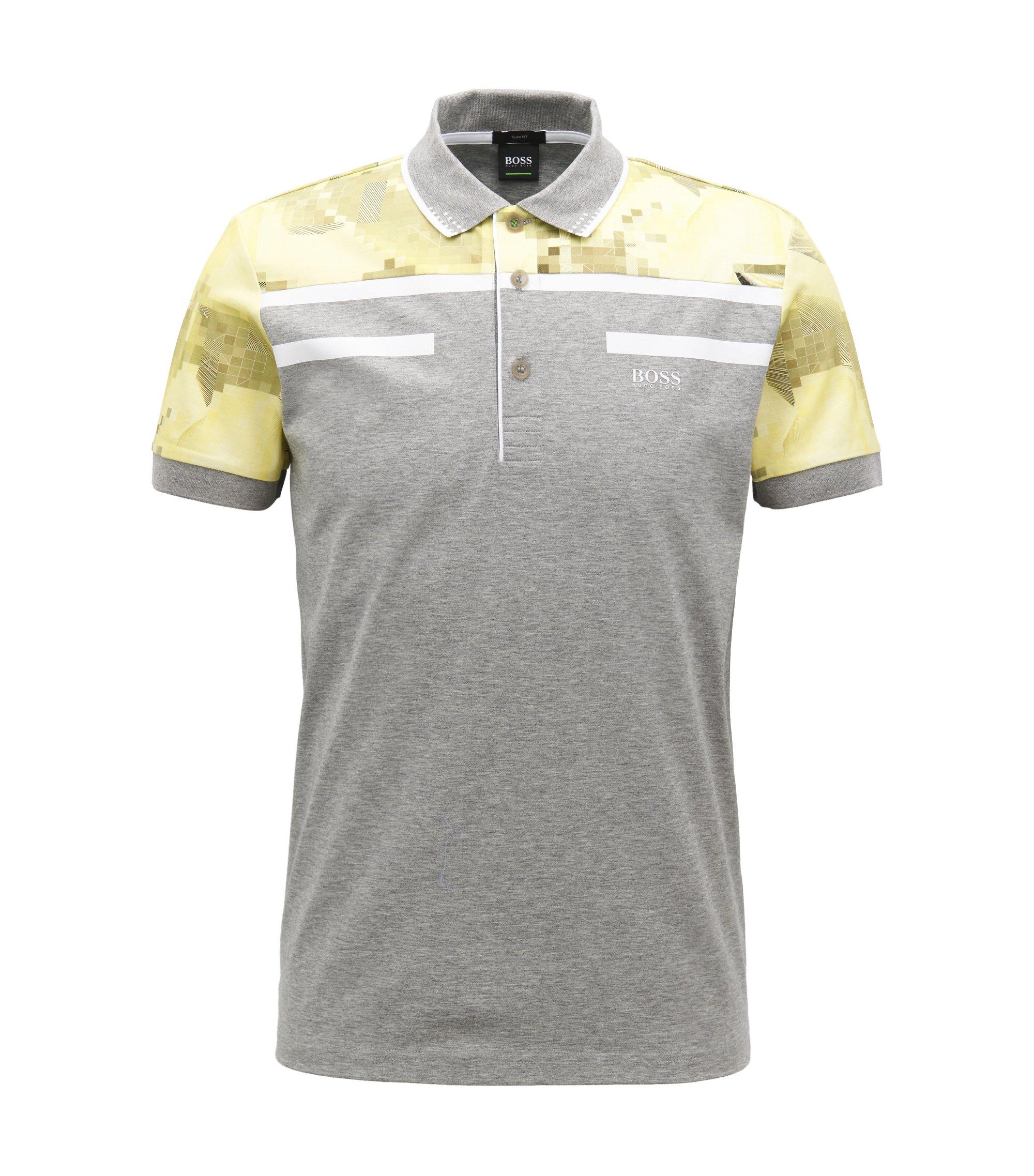 Geometric Mercerized Cotton Polo Shirt, Slim Fit | Paule, Light Grey