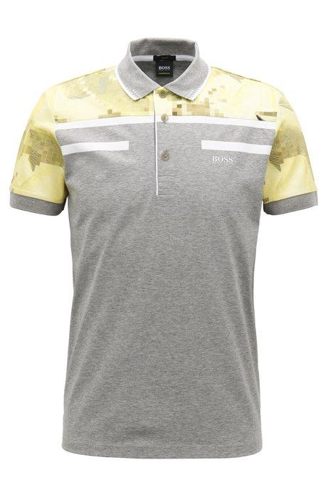 107896307 BOSS - Geometric Mercerized Cotton Polo Shirt, Slim Fit | Paule