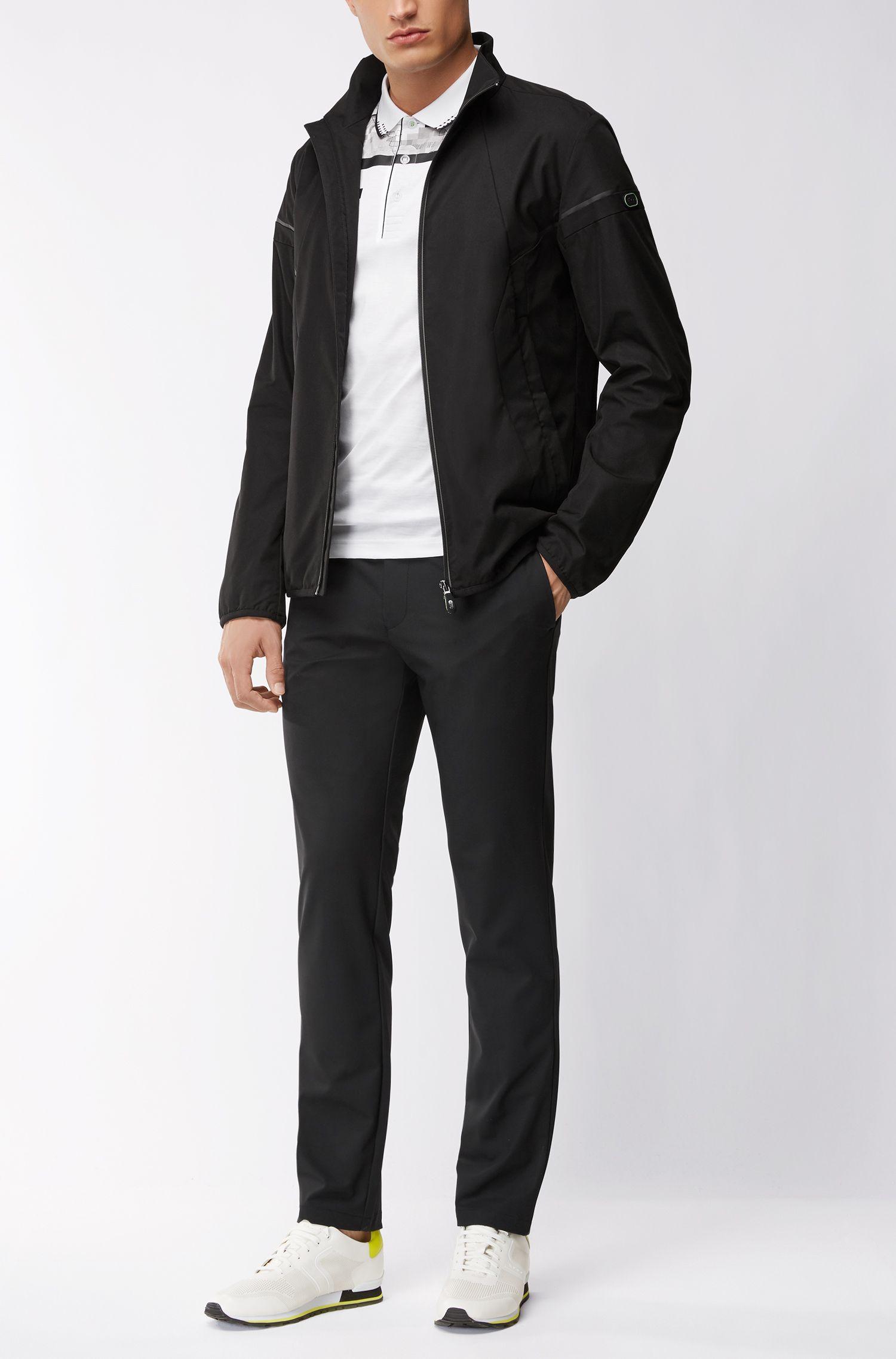 Geometric Mercerized Cotton Polo Shirt, Slim Fit | Paule, White