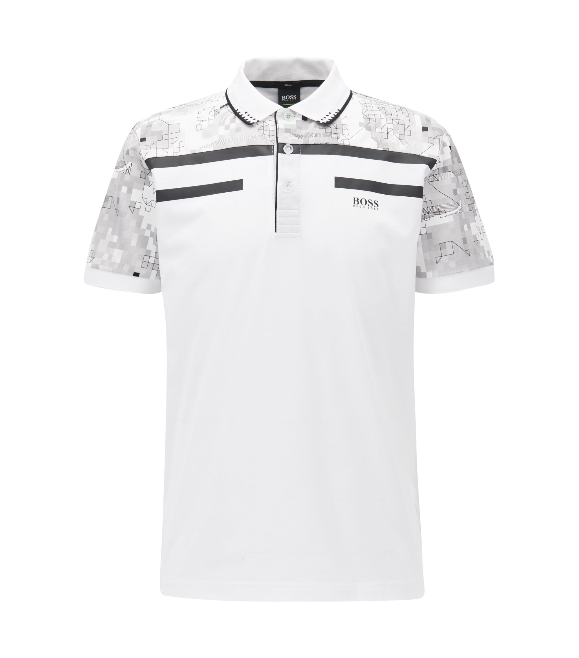Geometric Mercerized Cotton Polo Shirt, Slim Fit | Paule, White