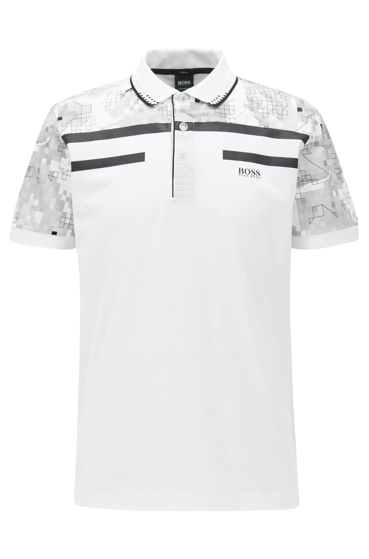 Geometric Mercerized Cotton Polo Shirt, Slim Fit | Paule