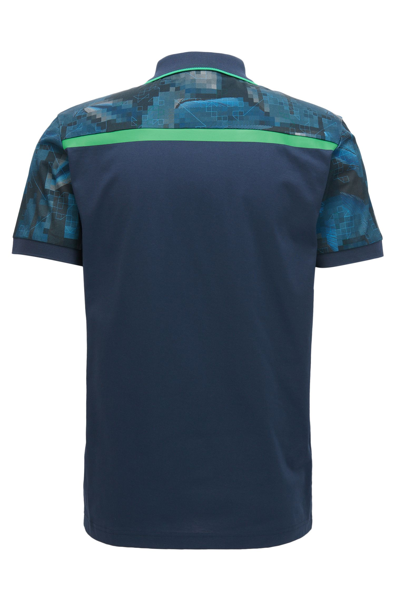 Geometric Mercerized Cotton Polo Shirt, Slim Fit | Paule, Dark Blue