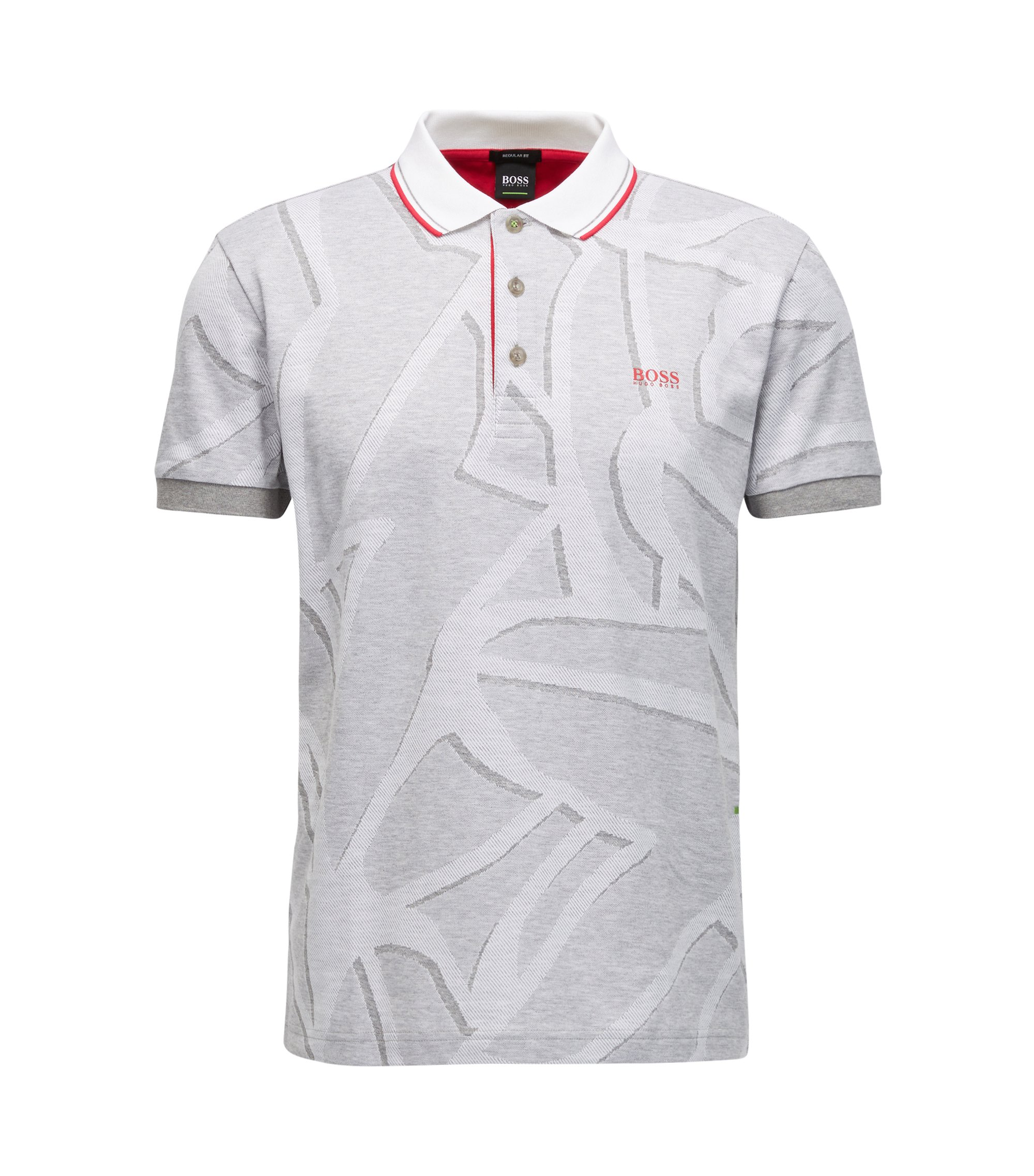 Patterened Cotton Polo Shirt, Regular Fit | Paddy, Light Grey