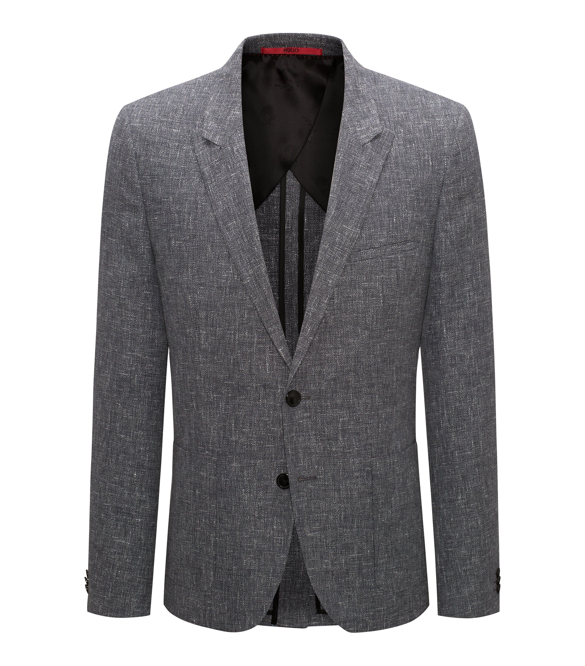Wool Linen Sport Coat, Extra Slim Fit | Arti, Black