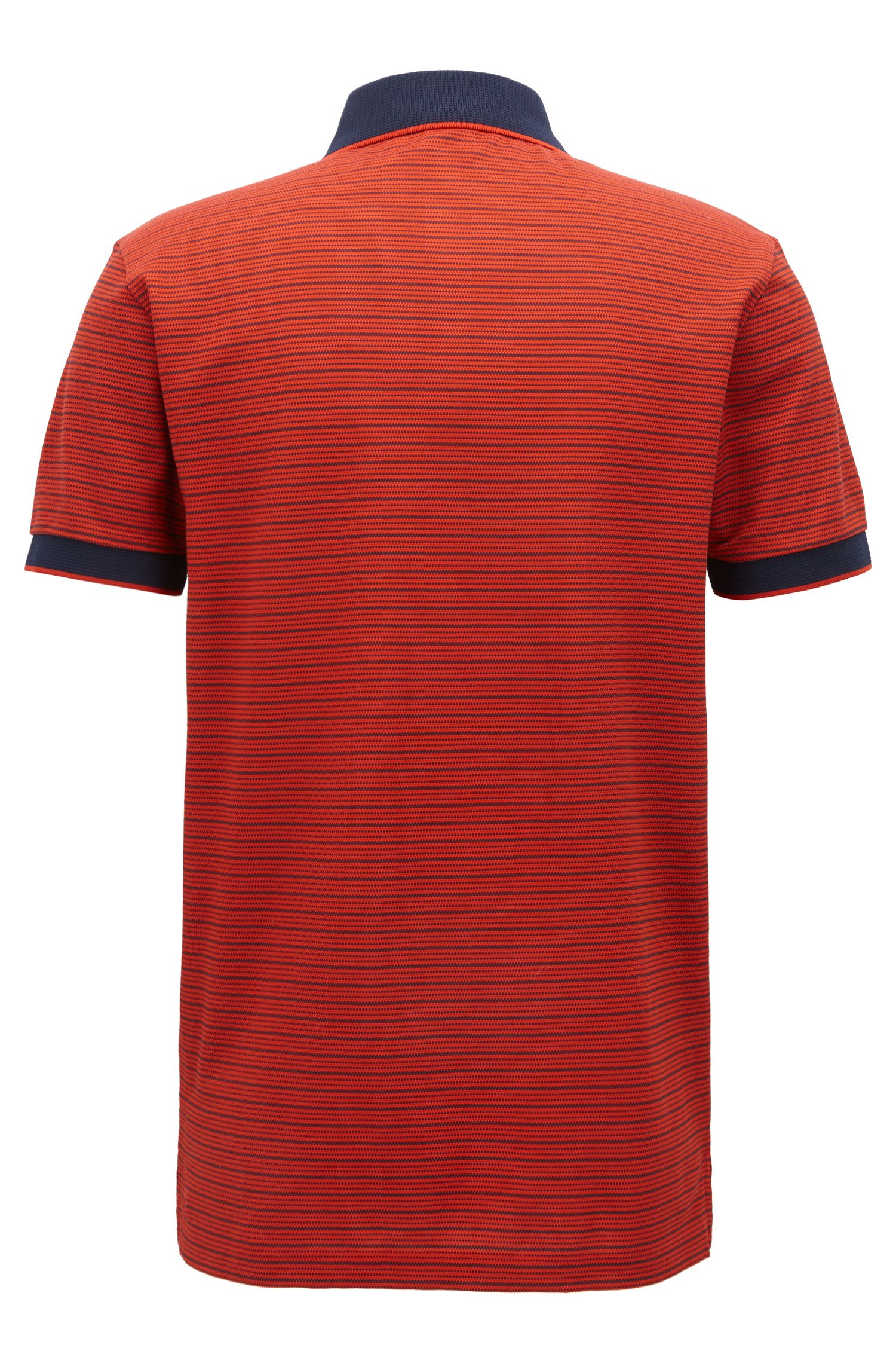 Striped Mercerized Cotton Polo Shirt, Regular Fit | Parlay, Dark Orange
