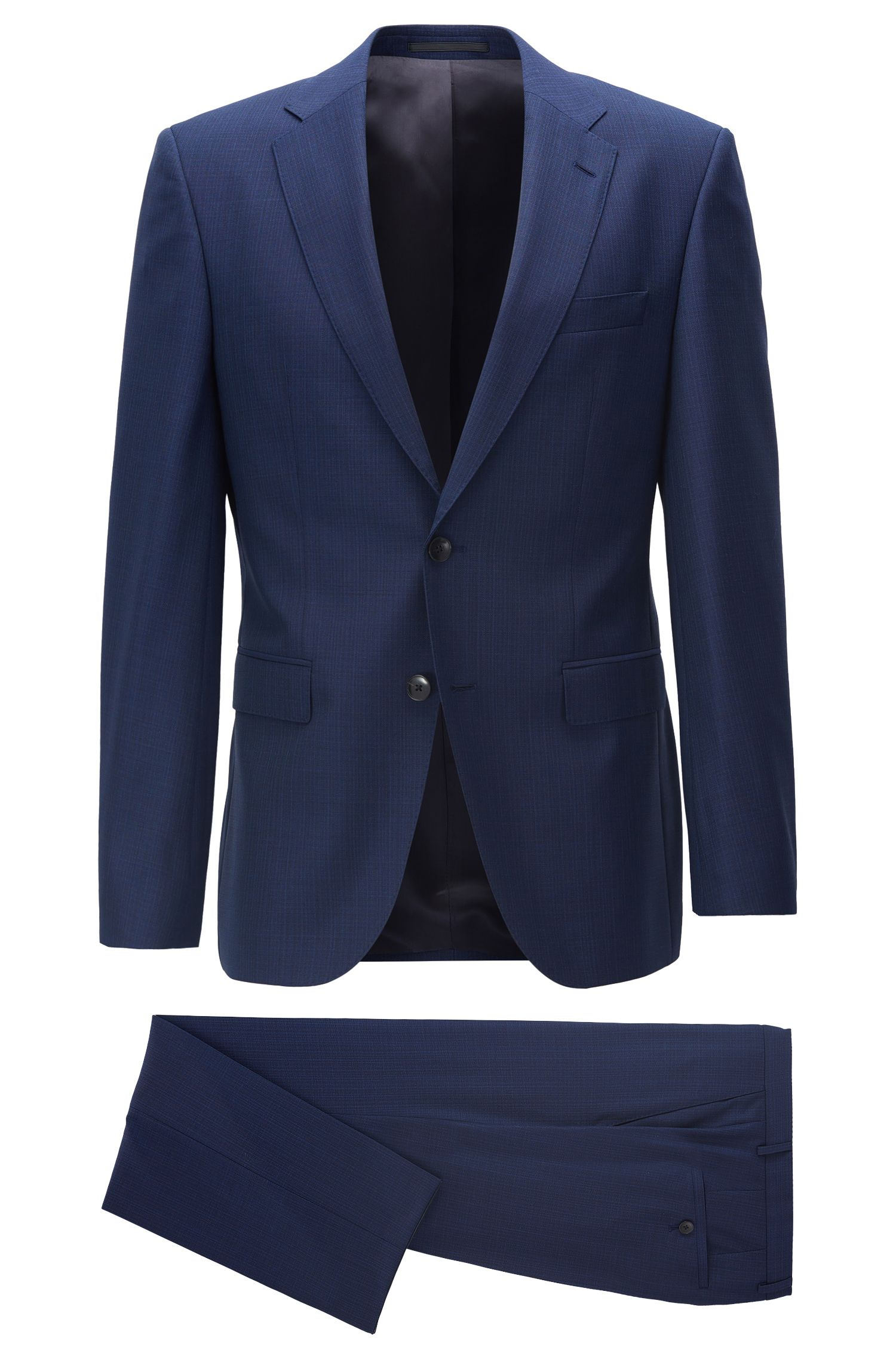 Basketweave Virgin Wool Suit, Regular Fit | Phoenix/Madisen, Open Blue
