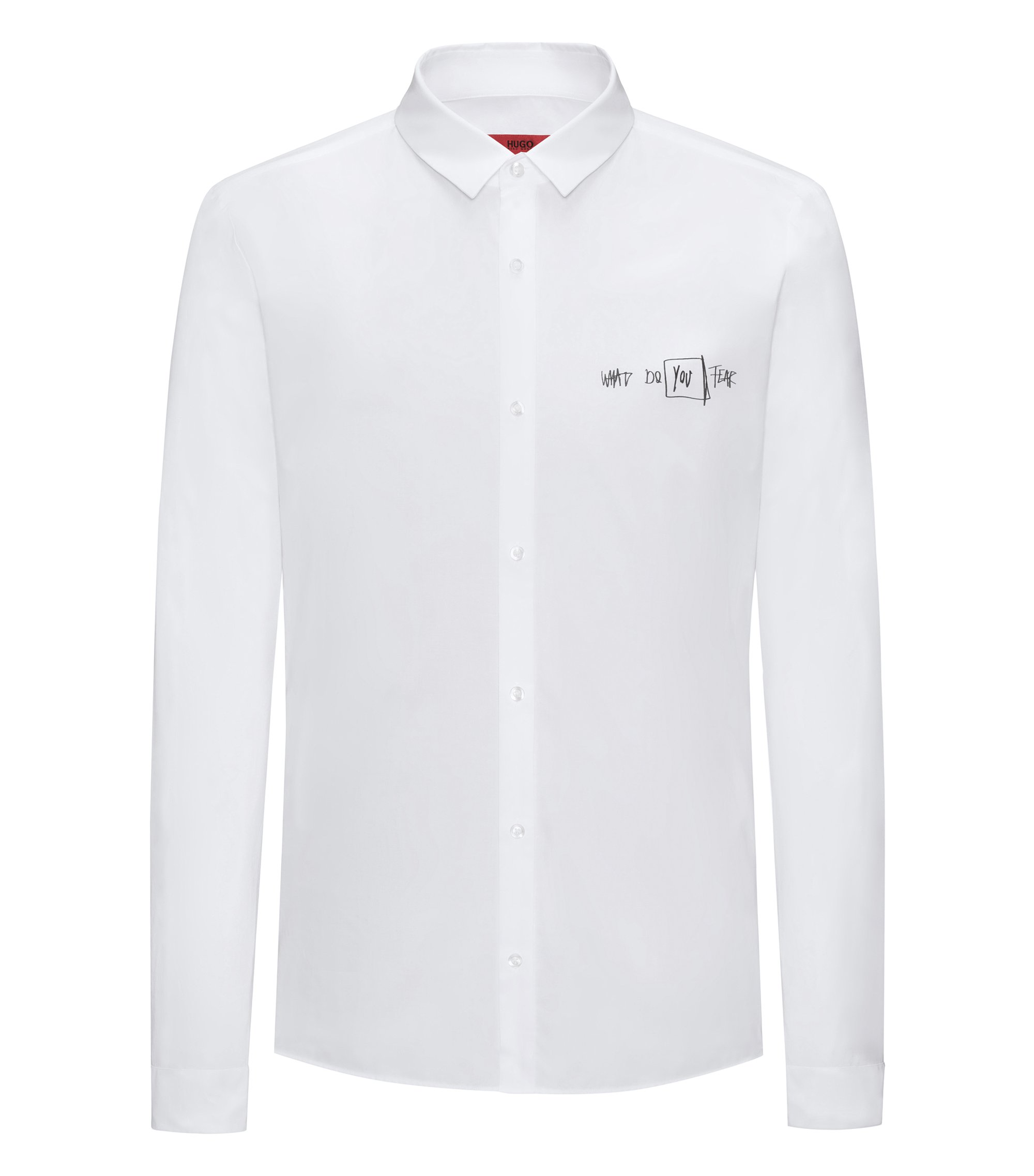 Scribbled Sport Shirt, Extra Slim Fit | Ero, Open White
