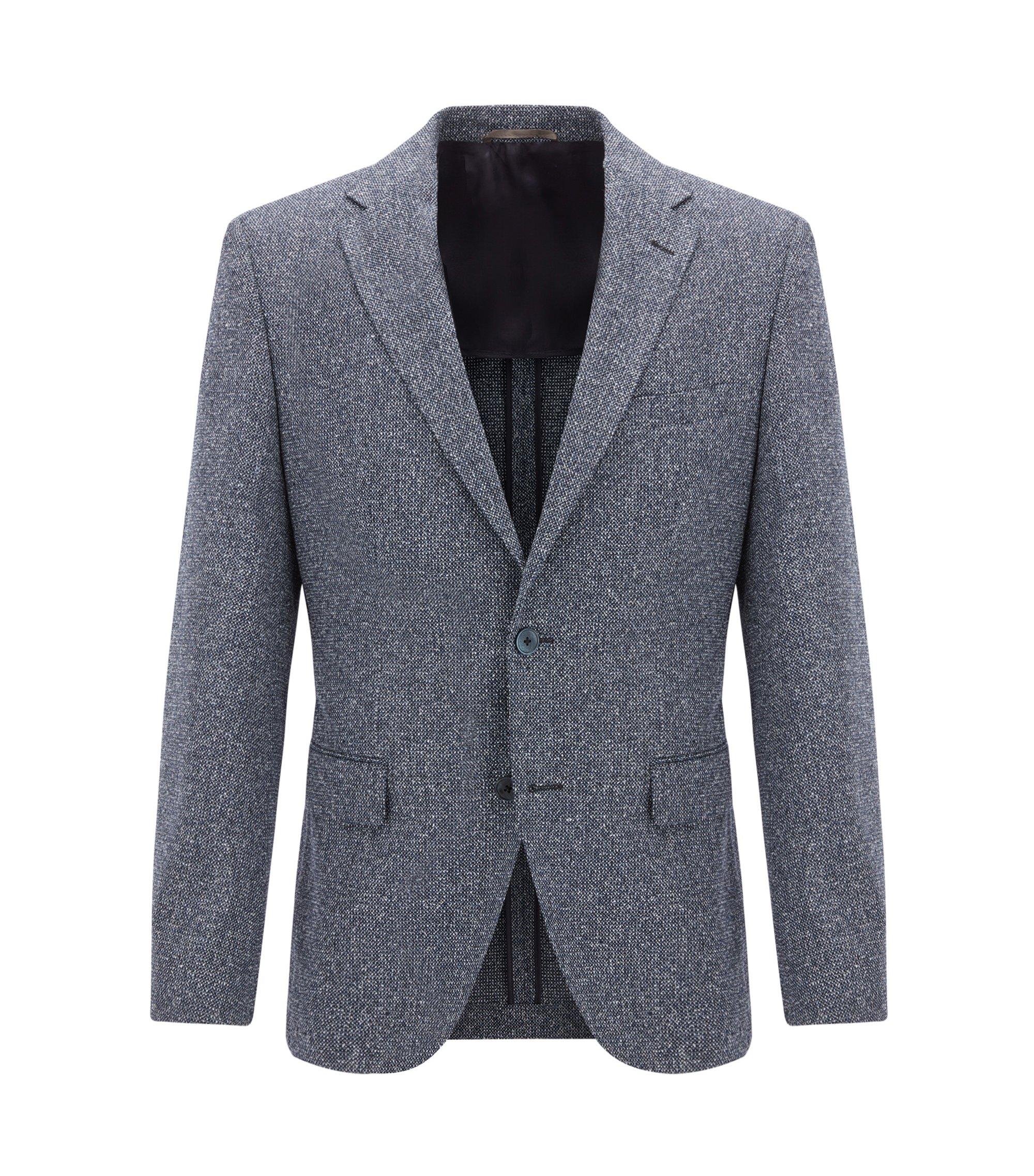 Melange Wool Silk Blend Sport Coat, Regular Fit | Jestor, Dark Blue