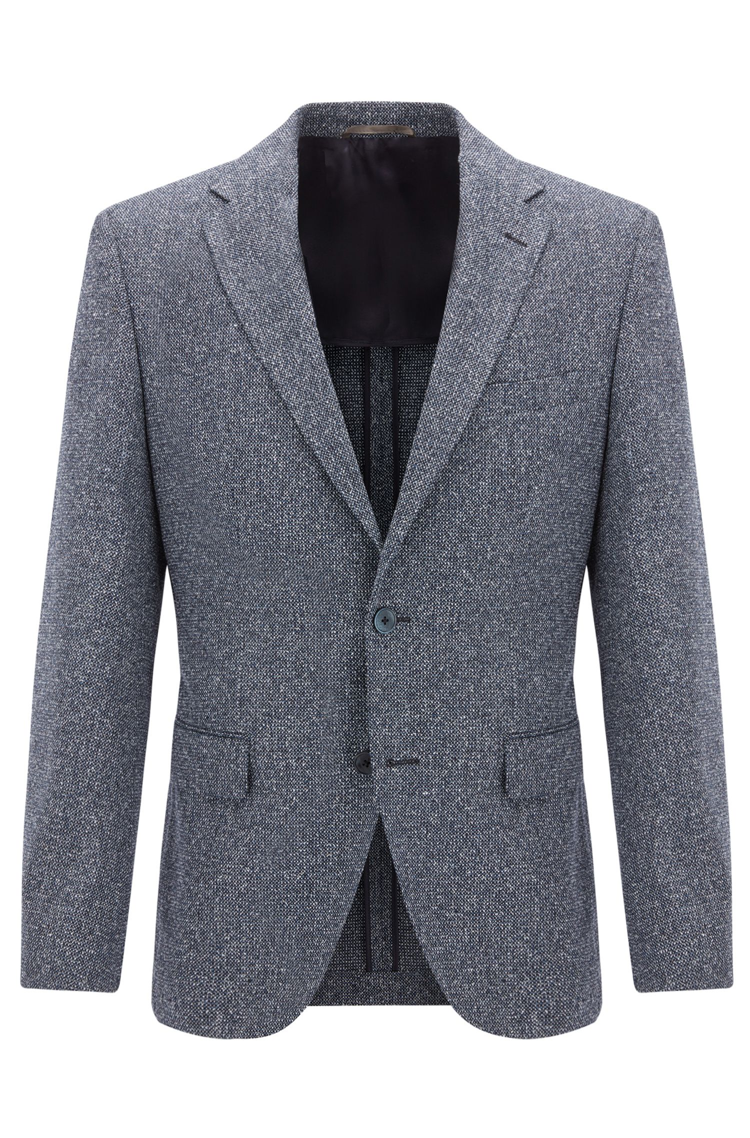 Melange Wool Silk Blend Sport Coat, Regular Fit | Jestor, Dark Blue
