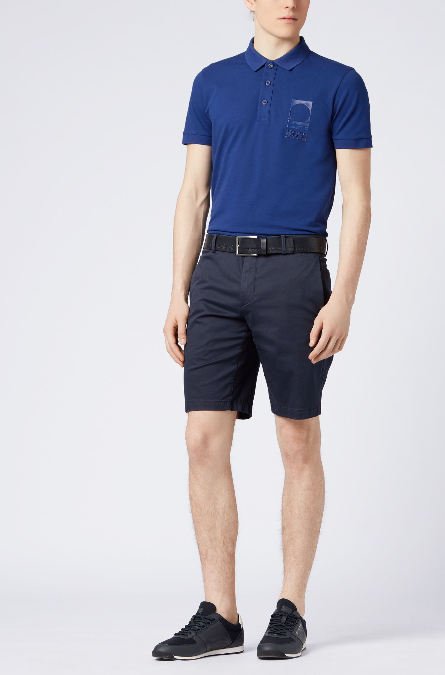 Stretch Cotton Polo Shirt, Slim Fit | Paule Flag, Dark Blue