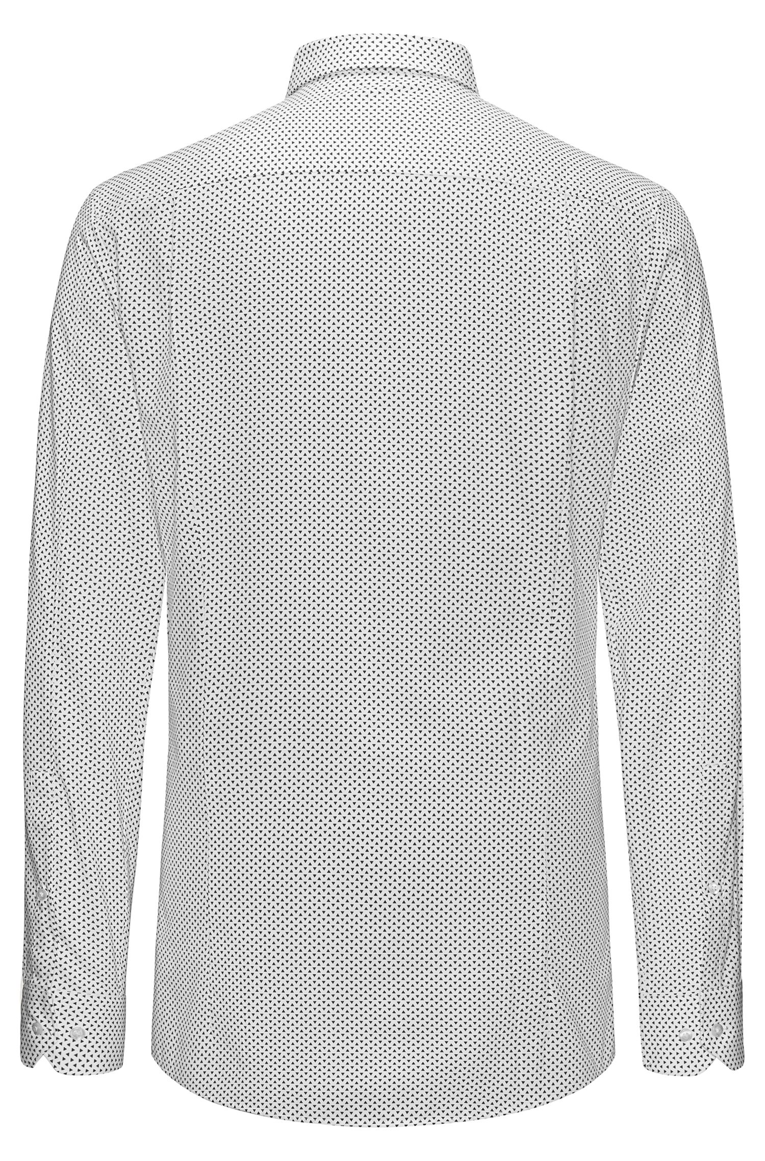 Triangle-Print Cotton Sport Shirt, Extra Slim Fit | Elisha, Open White