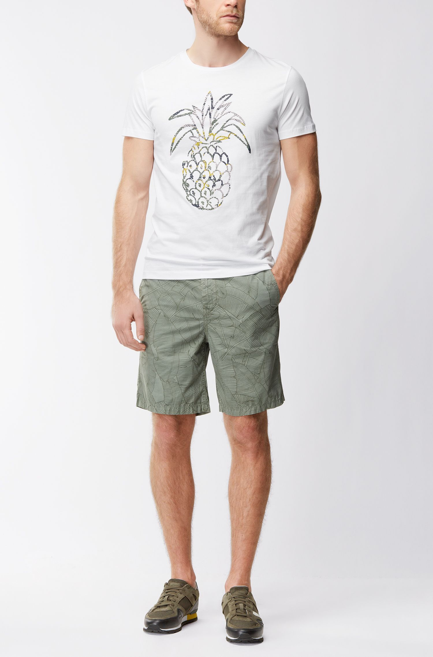 Pineapple Cotton Jersey Graphic T-Shirt | Tauno