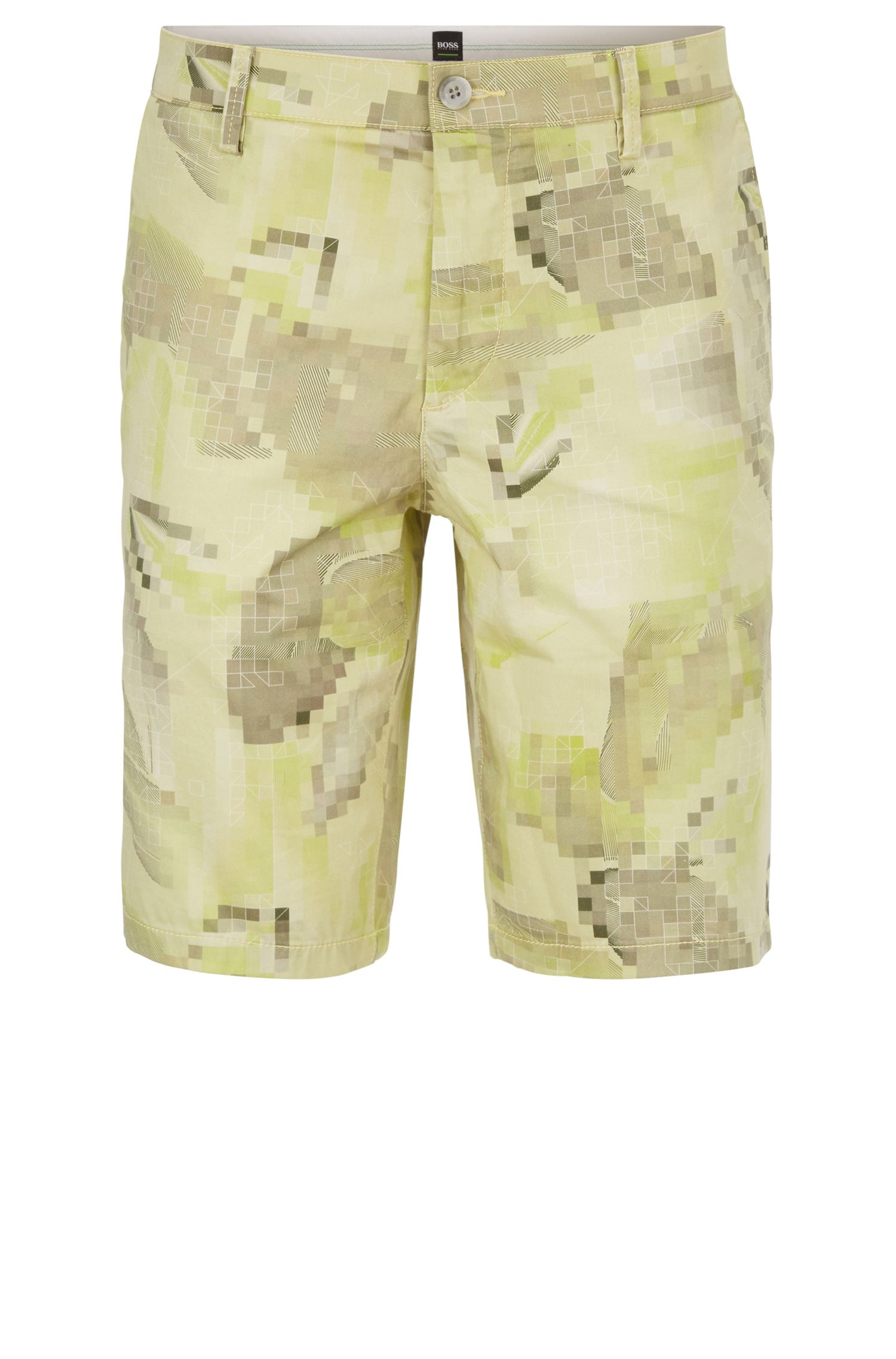 Digi-Camo Sateen Stretch Cotton Short, Slim Fit | Liem Print W