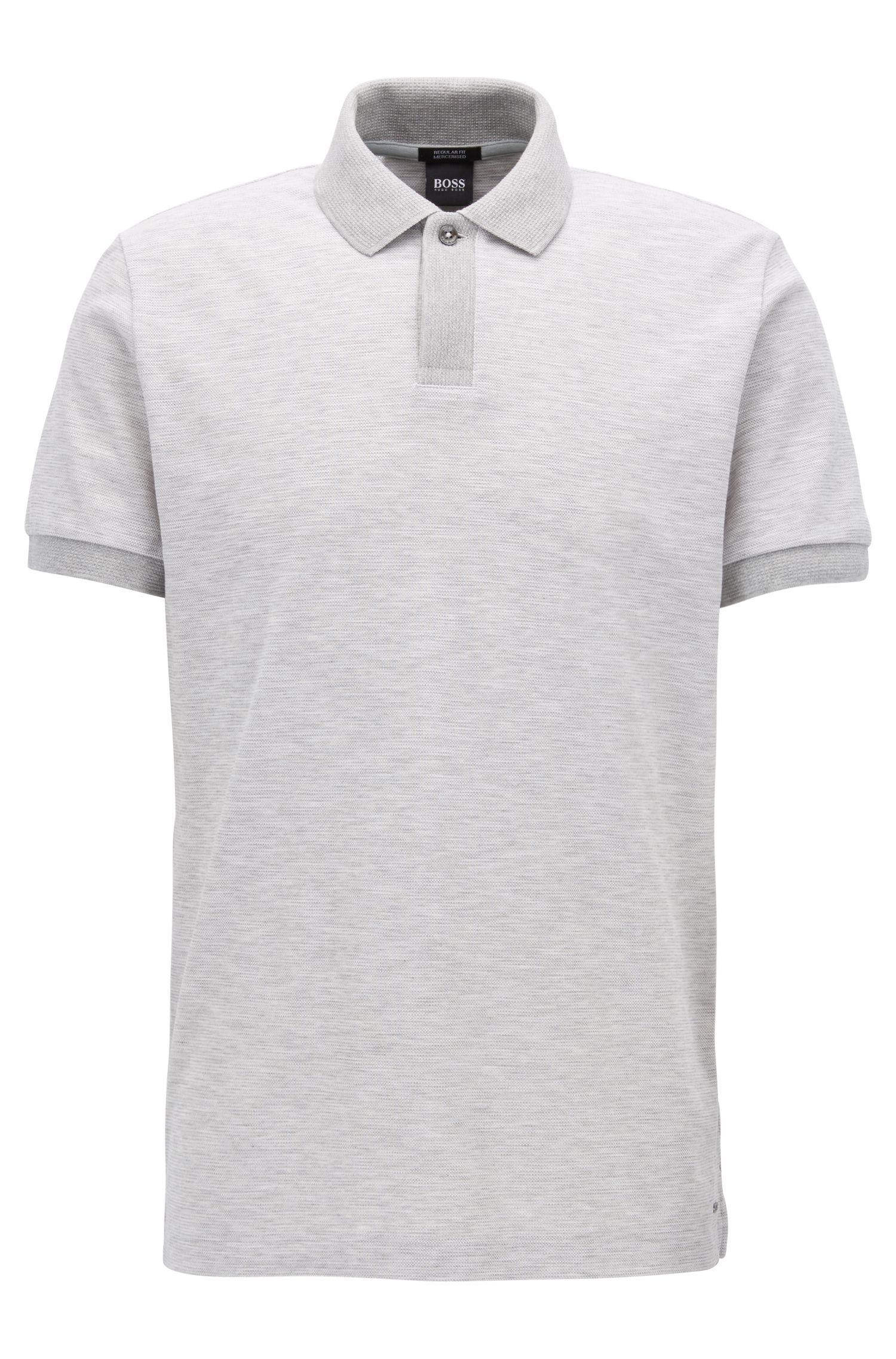 Mercerized Cotton Polo Shirt, Regular Fit | Parlay, Open Grey