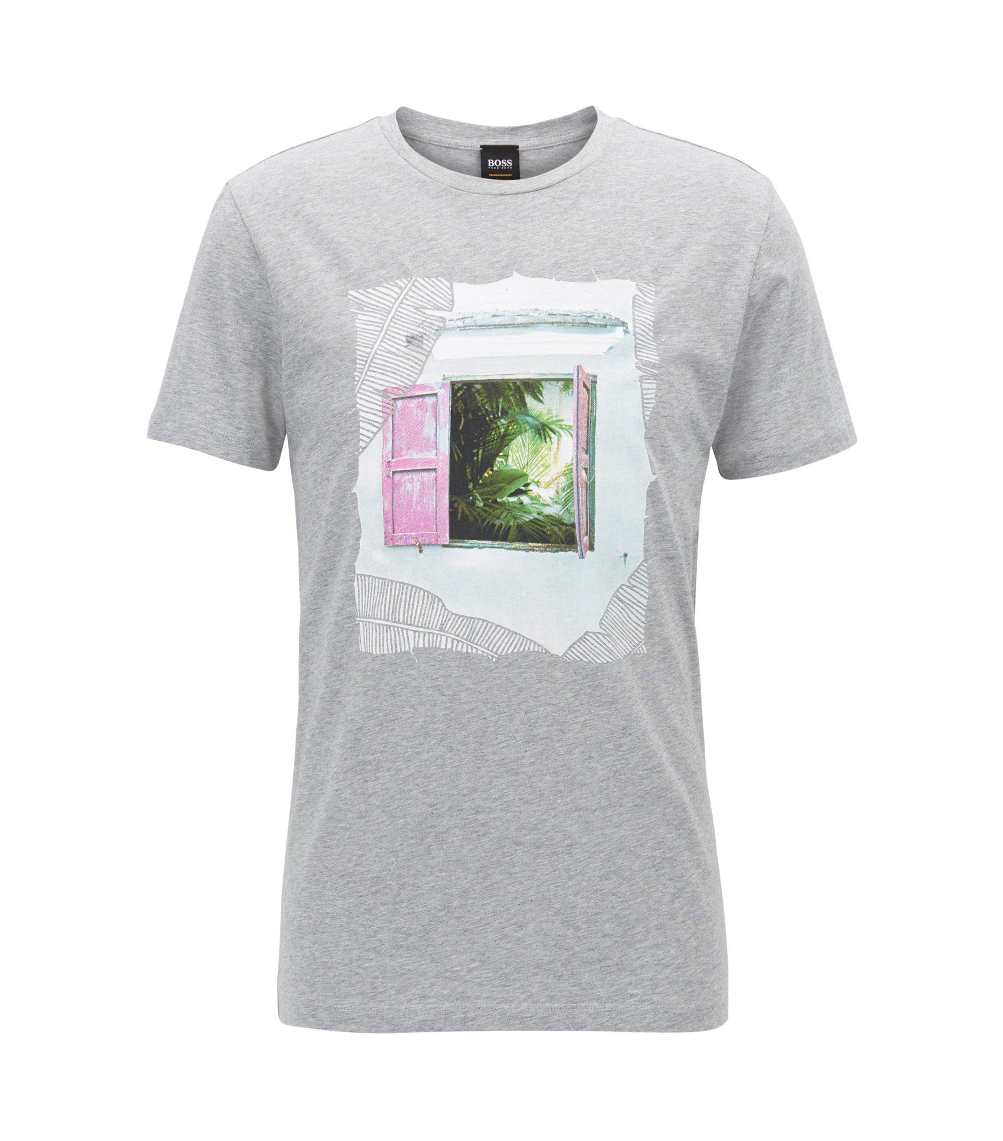 Cuba-Print Cotton Jersey Graphic T-Shirt | Tauno, Grey