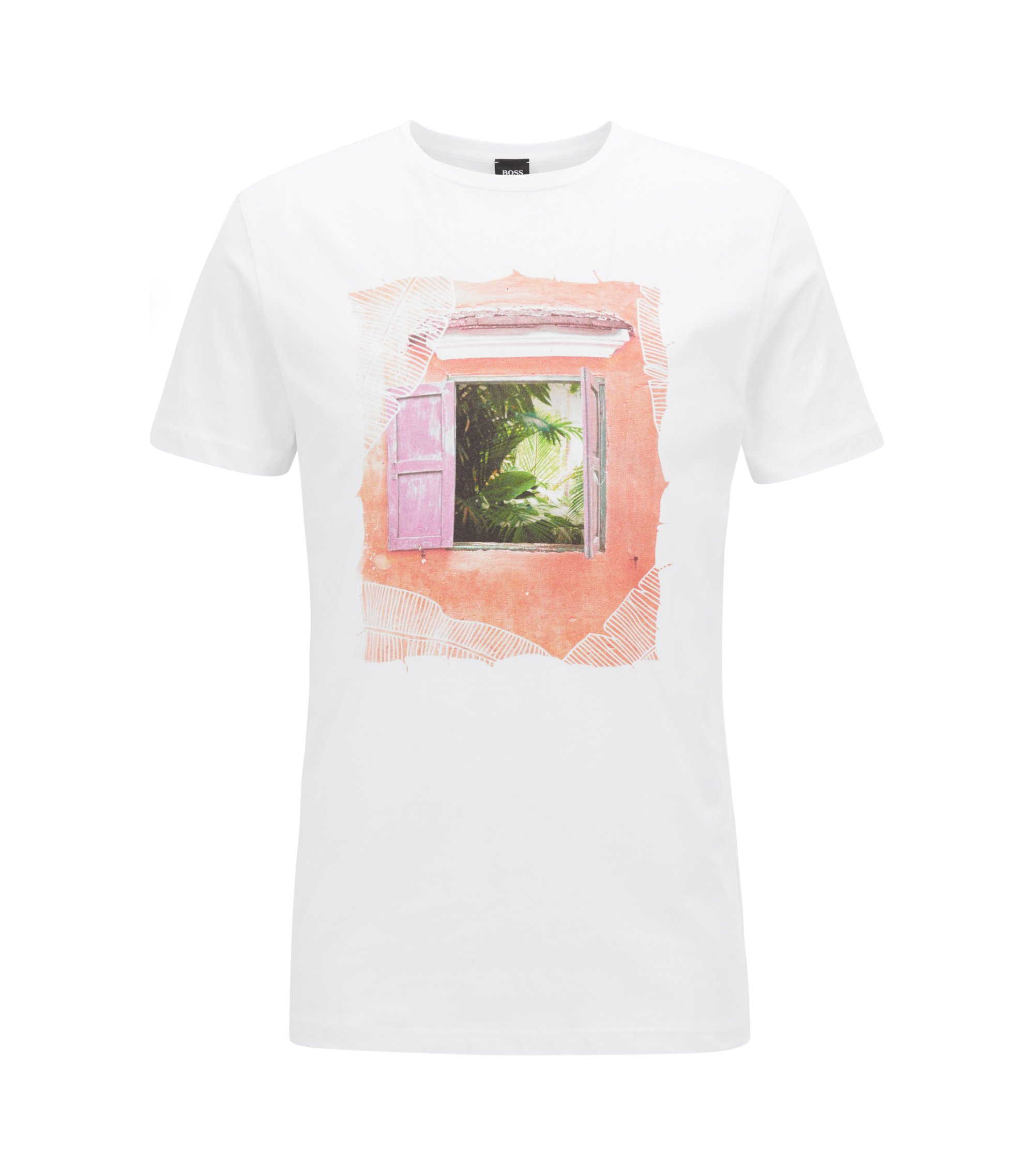 Cuba-Print Cotton Jersey Graphic T-Shirt | Tauno, White