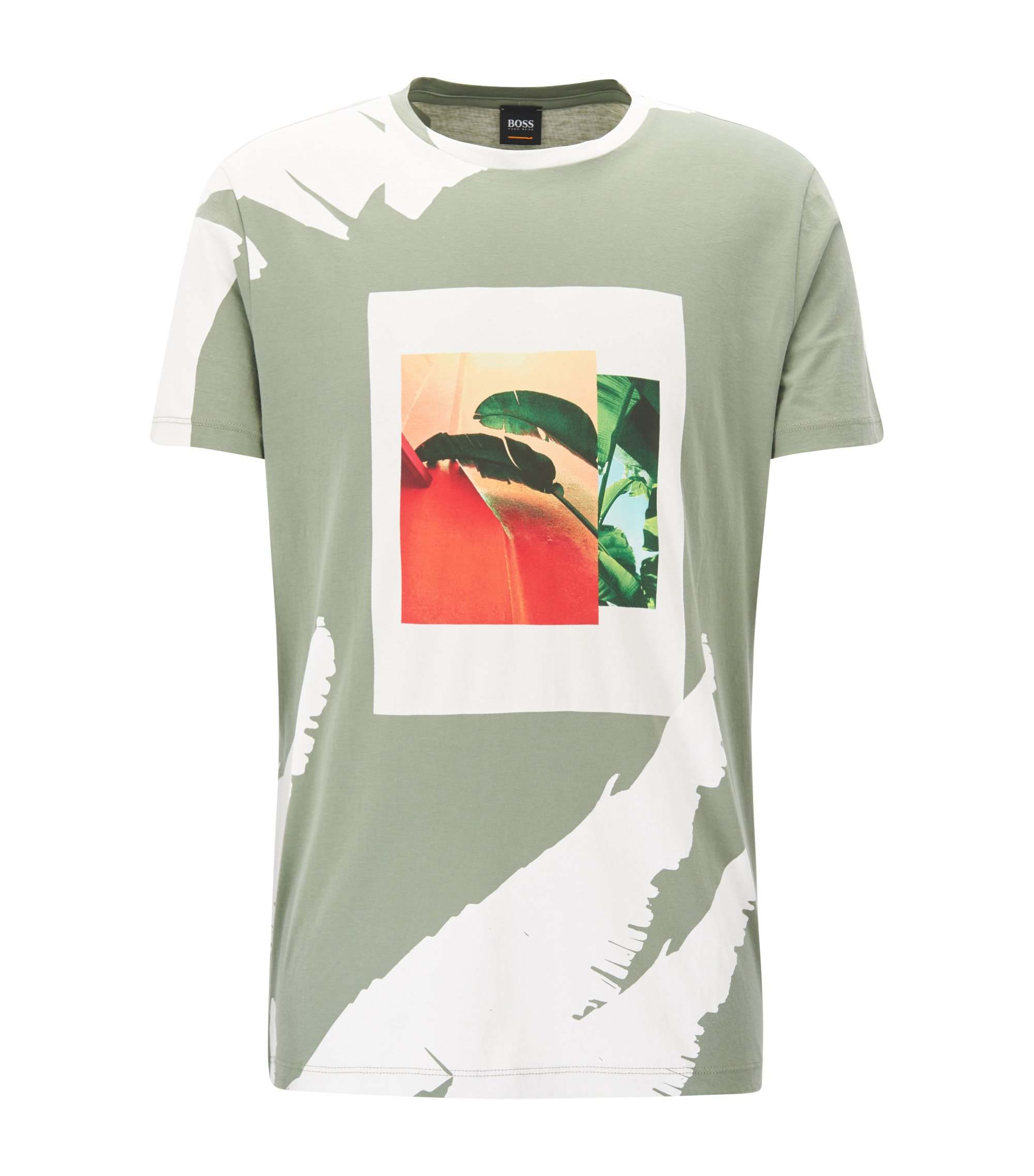 Tropical-Print Cotton Graphic T-Shirt | Timen , Light Green