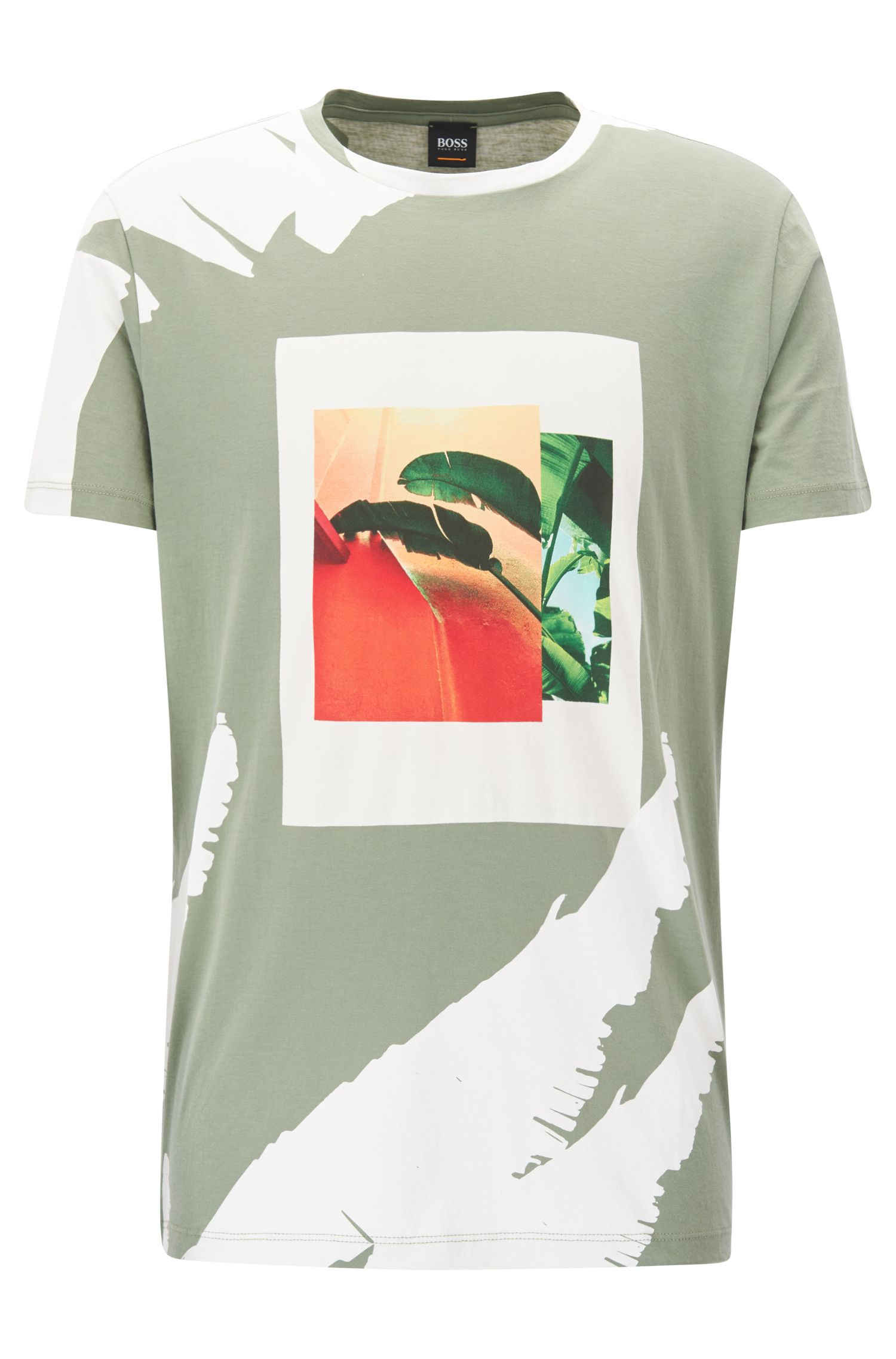 Tropical-Print Cotton Graphic T-Shirt | Timen