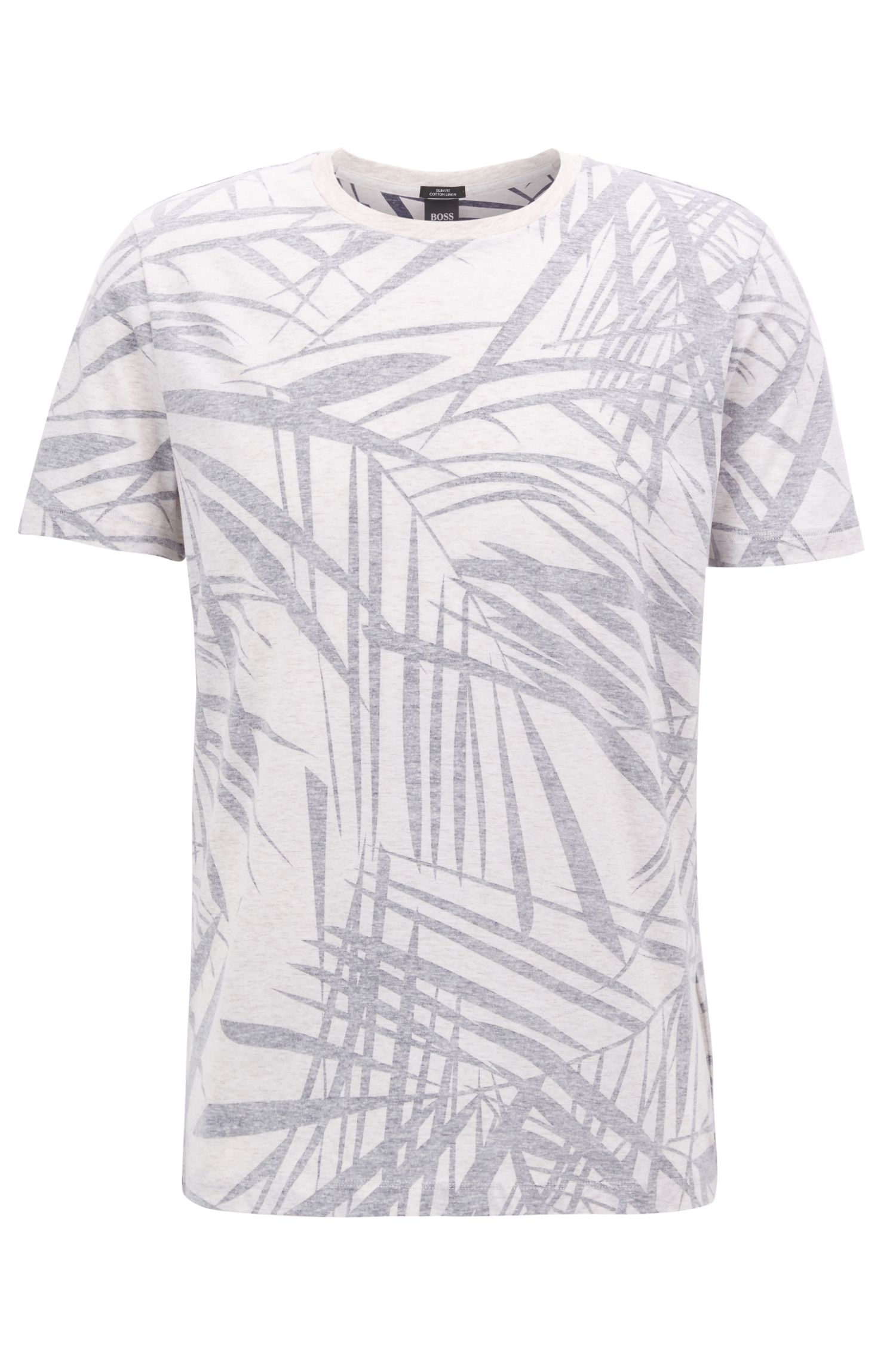 Leaf-Print Cotton Linen T-Shirt | Tessler, Natural