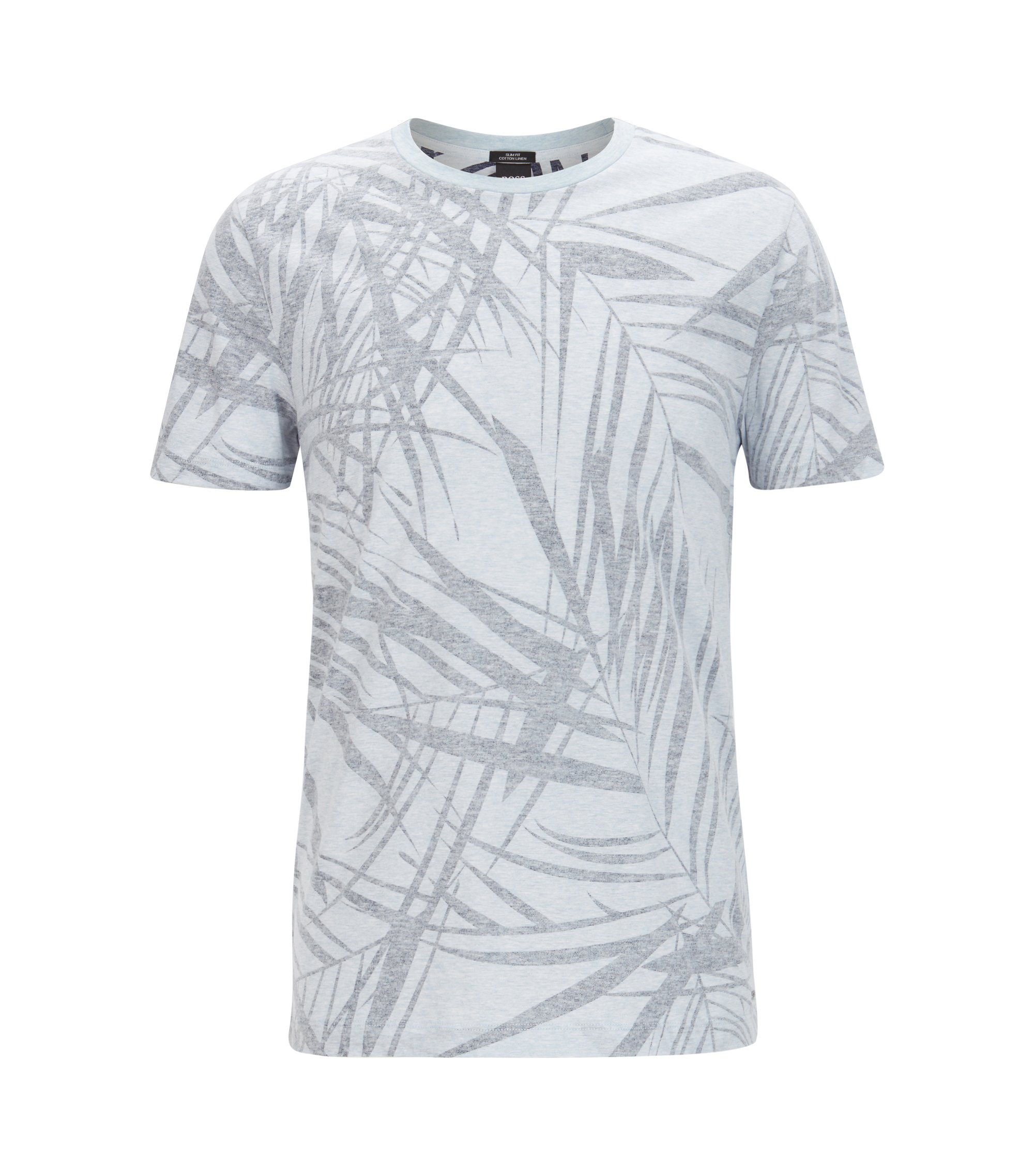 Leaf-Print Cotton Linen T-Shirt | Tessler, Dark Blue