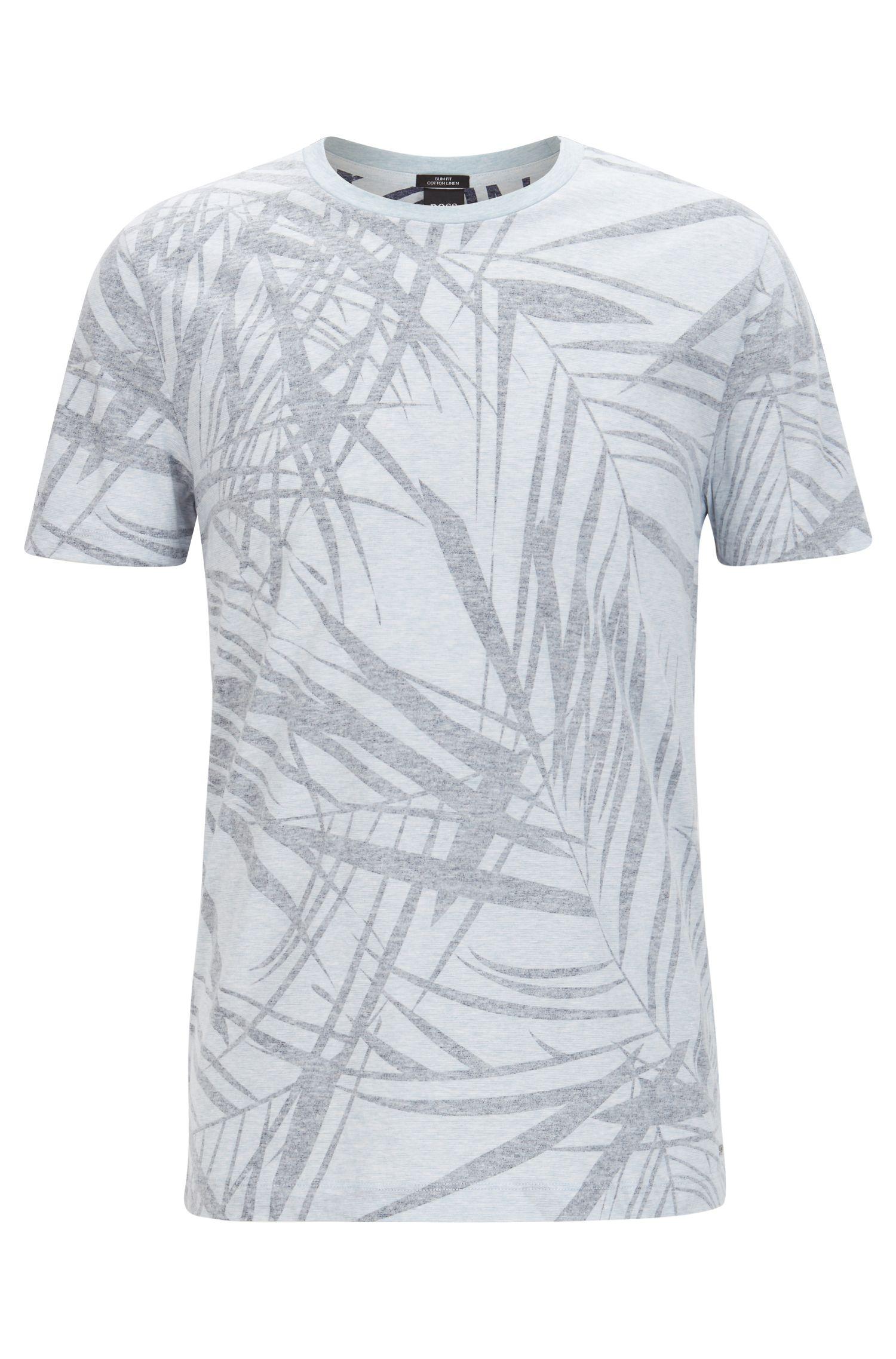 Leaf-Print Cotton Linen T-Shirt | Tessler, Dark Blue