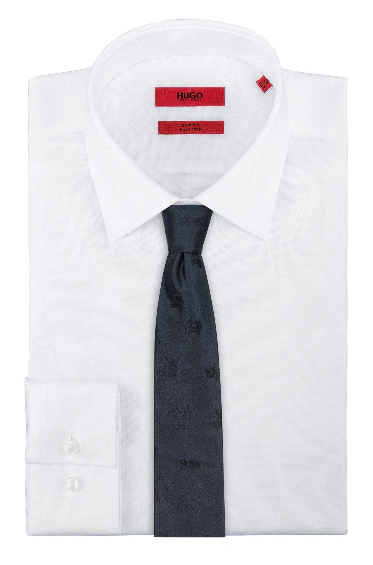 Skull-Print Italian Silk Slim Tie, Dark Blue