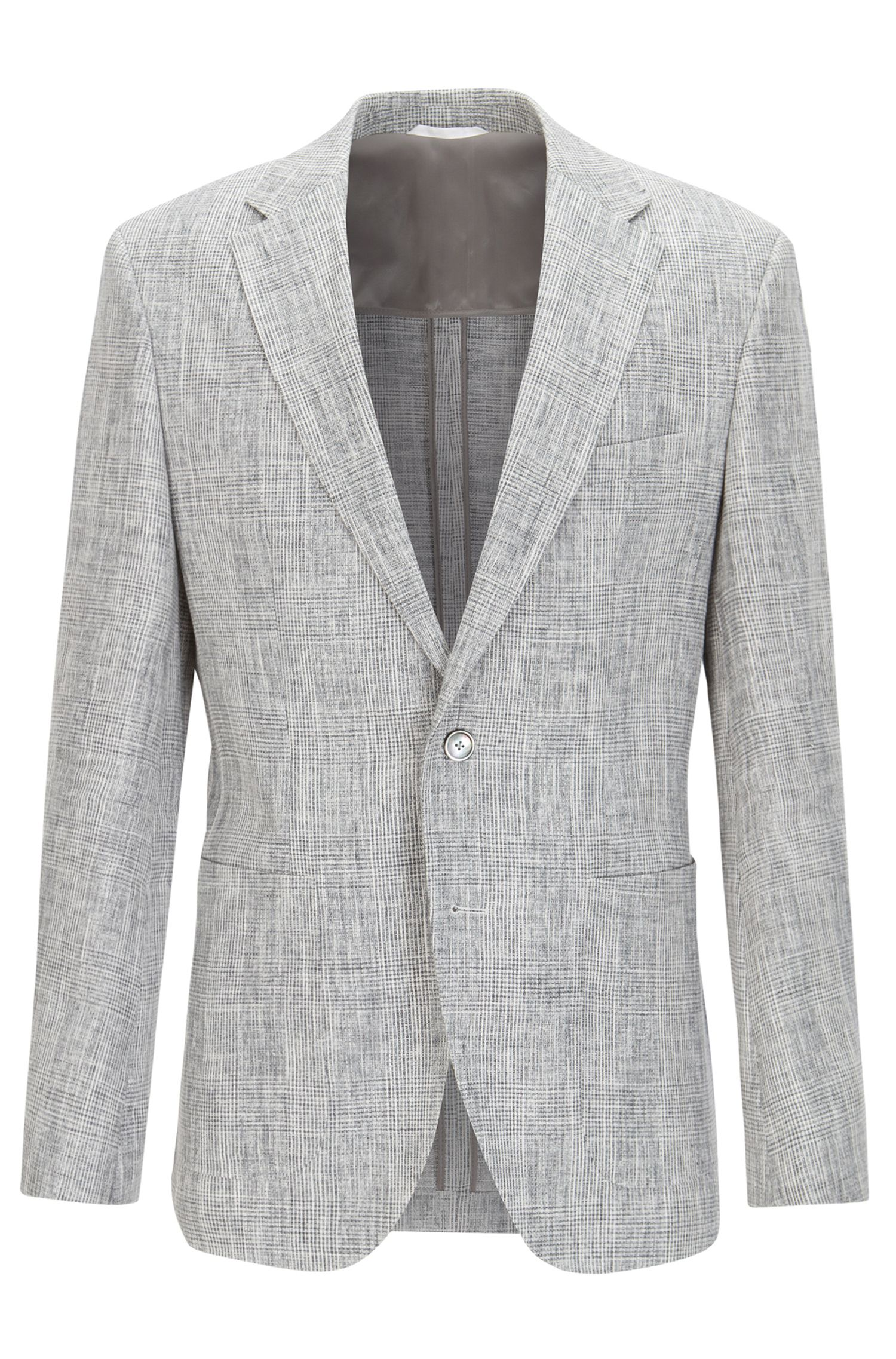 Glen Plaid Linen Sport Coat, Regular Fit | Janson, Open Grey