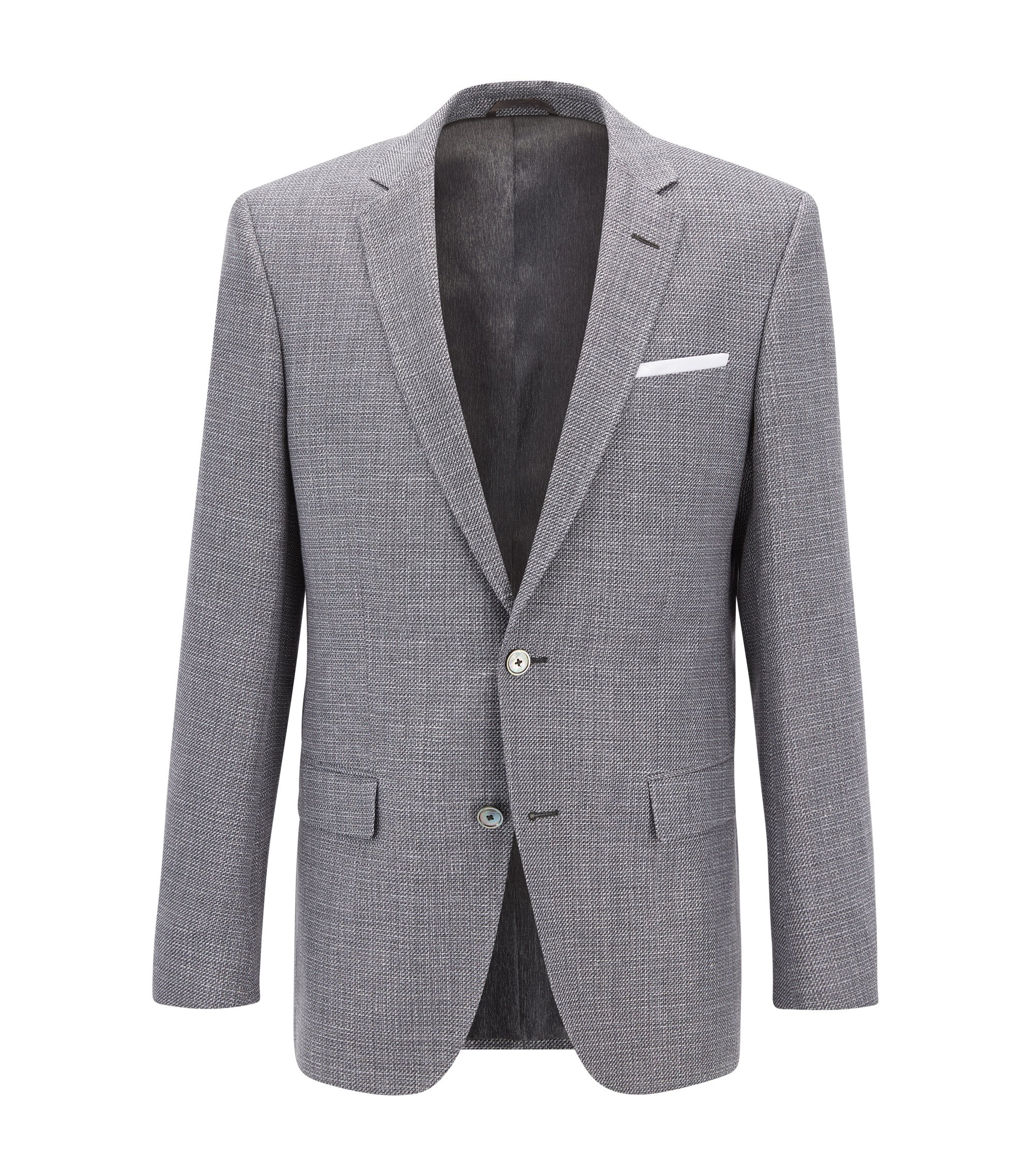 Basketweave Cotton Linen Sport Coat, Slim Fit | Hutsons, Dark Grey