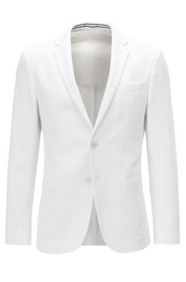 Waffle-Knit Jersey Blend Sport Coat, Slim Fit | Norwin J , White