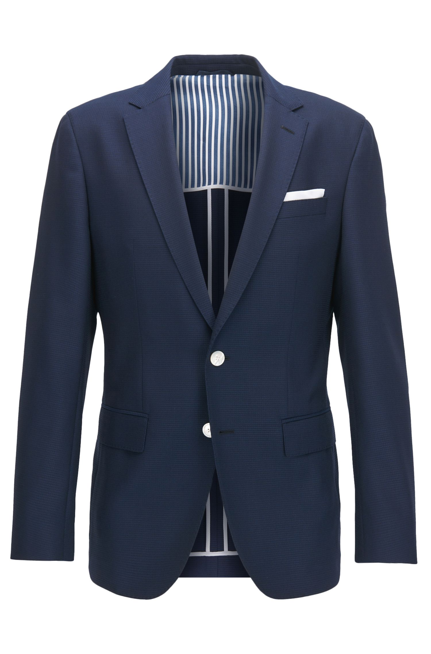 Virgin Wool Sport Coat, Slim Fit | Hartlay, Dark Blue