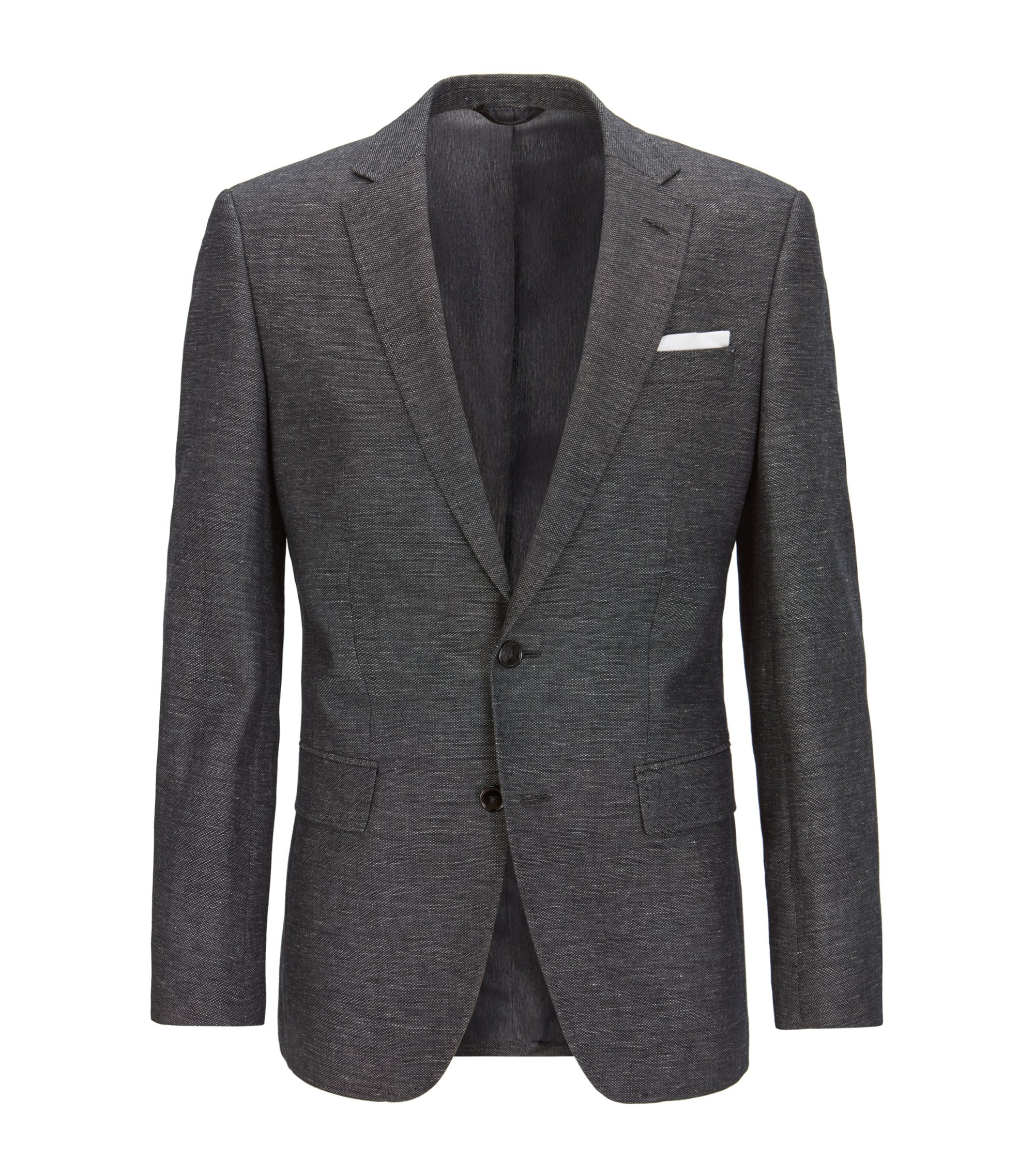 Melange Cotton-Linen Sport Coat, Slim Fit | Hutsons, Open Grey