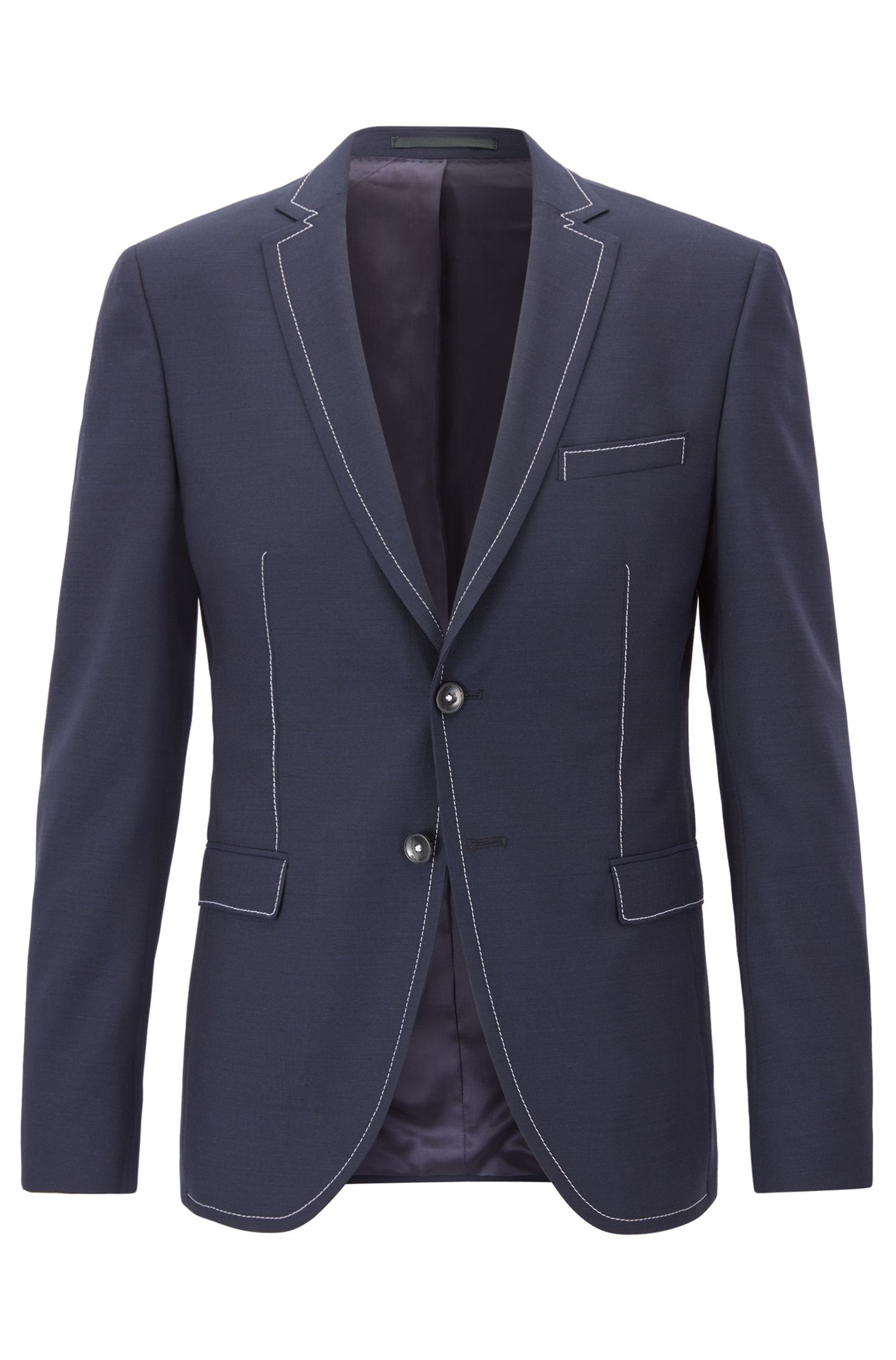 Virgin Wool Sport Coat, Extra Slim Fit | Rawen, Dark Blue