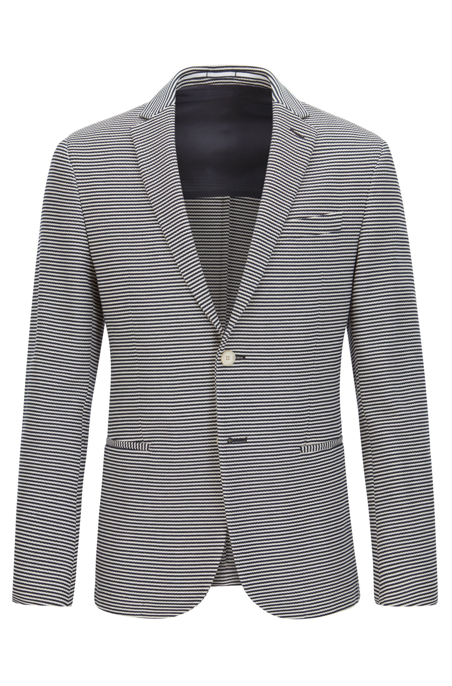 Striped Cotton Sport Coat, Slim Fit | Norwin J