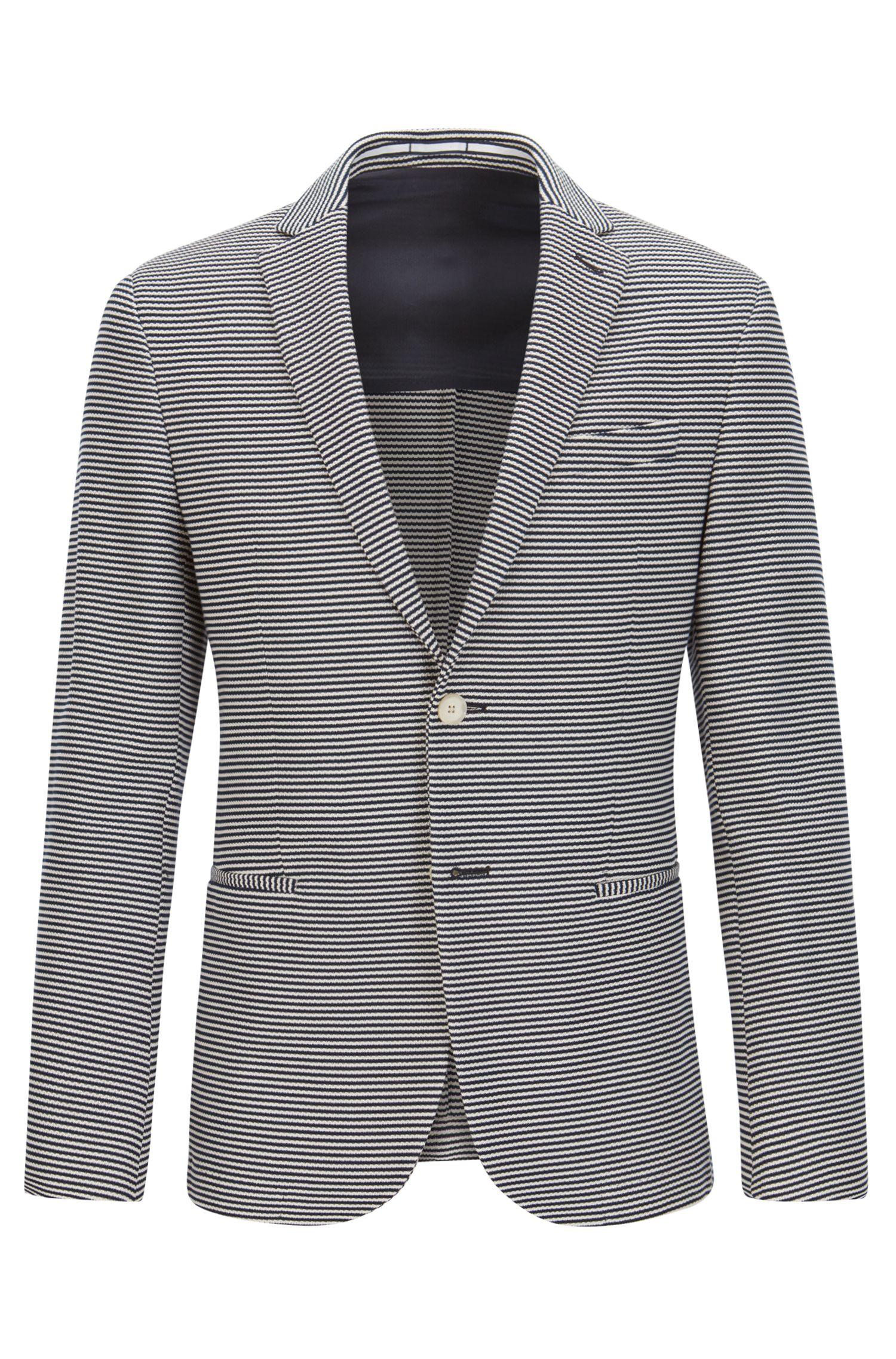 Striped Cotton Sport Coat, Slim Fit   Norwin J