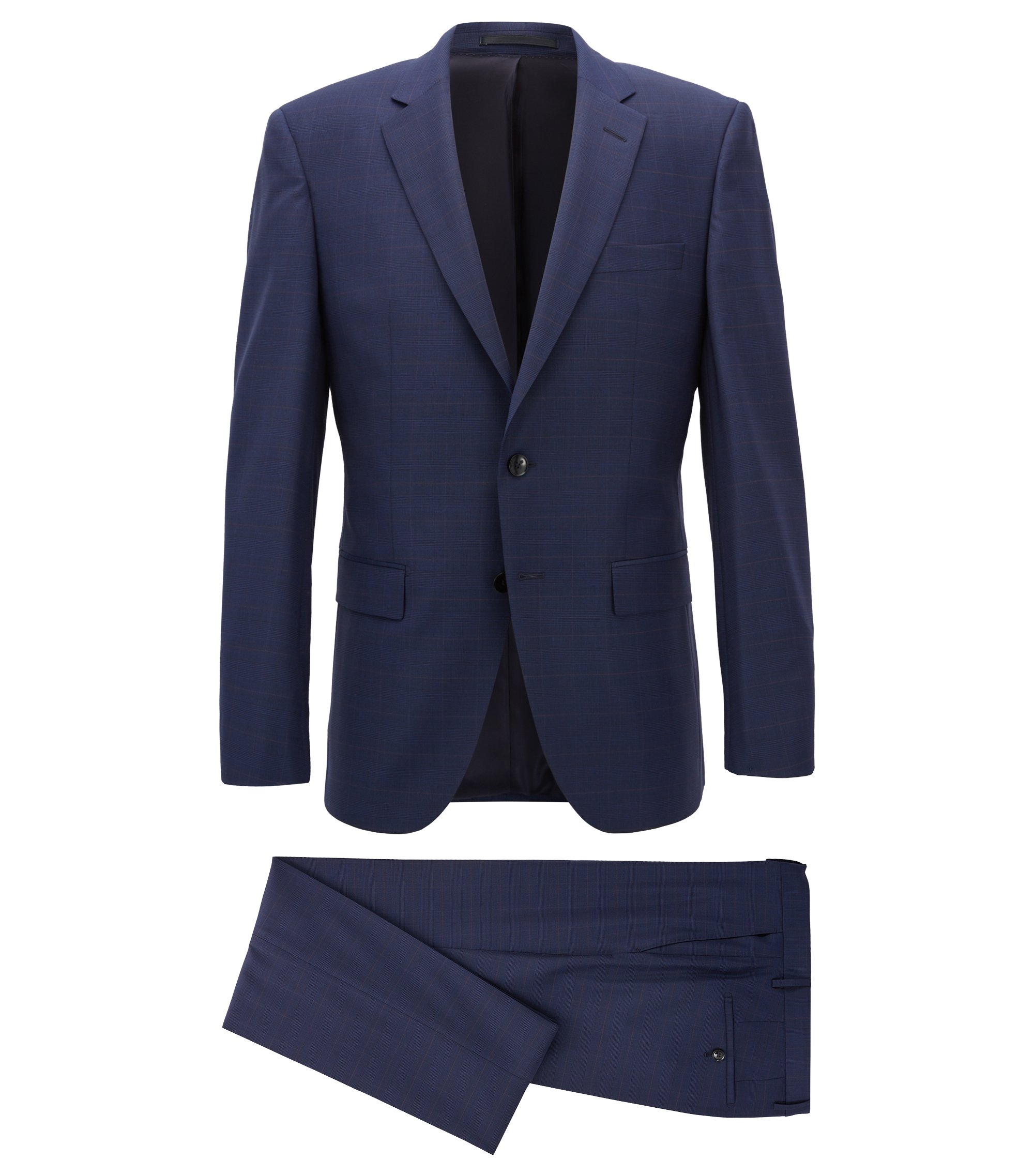 Plaid Virgin Wool Suit, Slim Fit | T-Harvers/Glover, Dark Blue