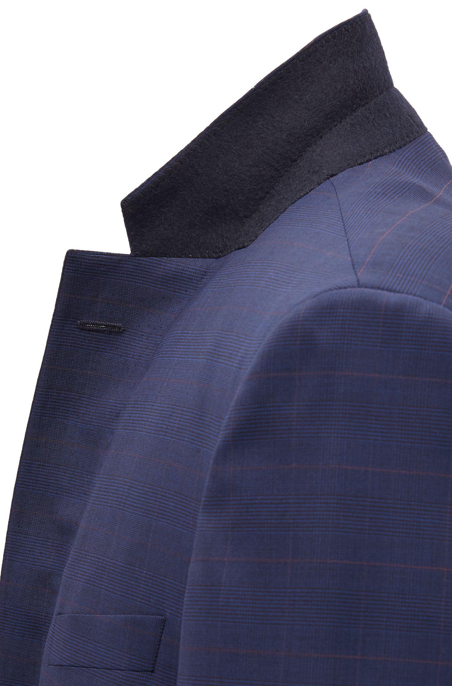 Plaid Virgin Wool Suit, Slim Fit | T-Harvers/Glover, Dark Blue