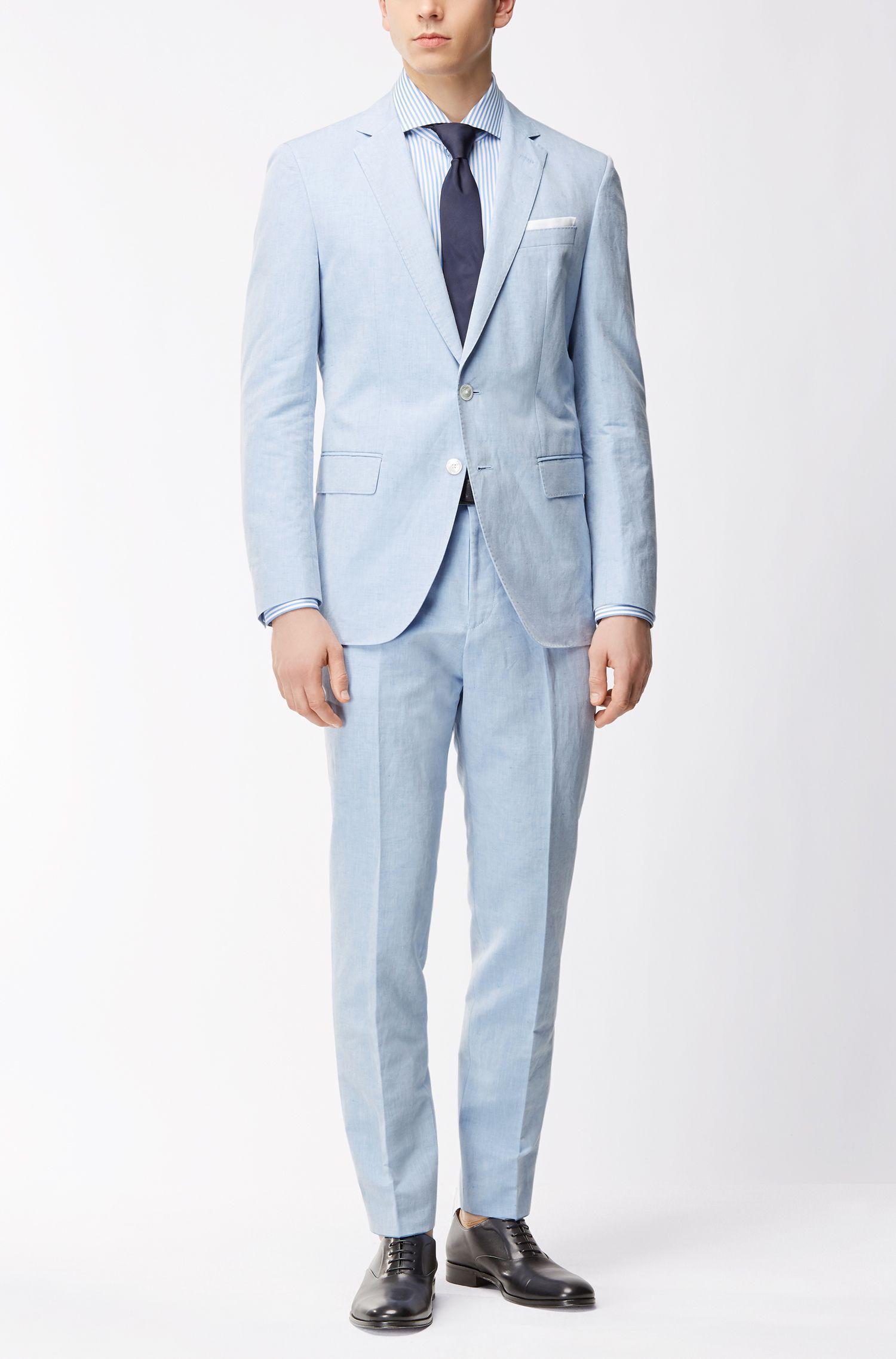 Linen Cotton Sport Coat, Slim Fit | Hartlay, Blue