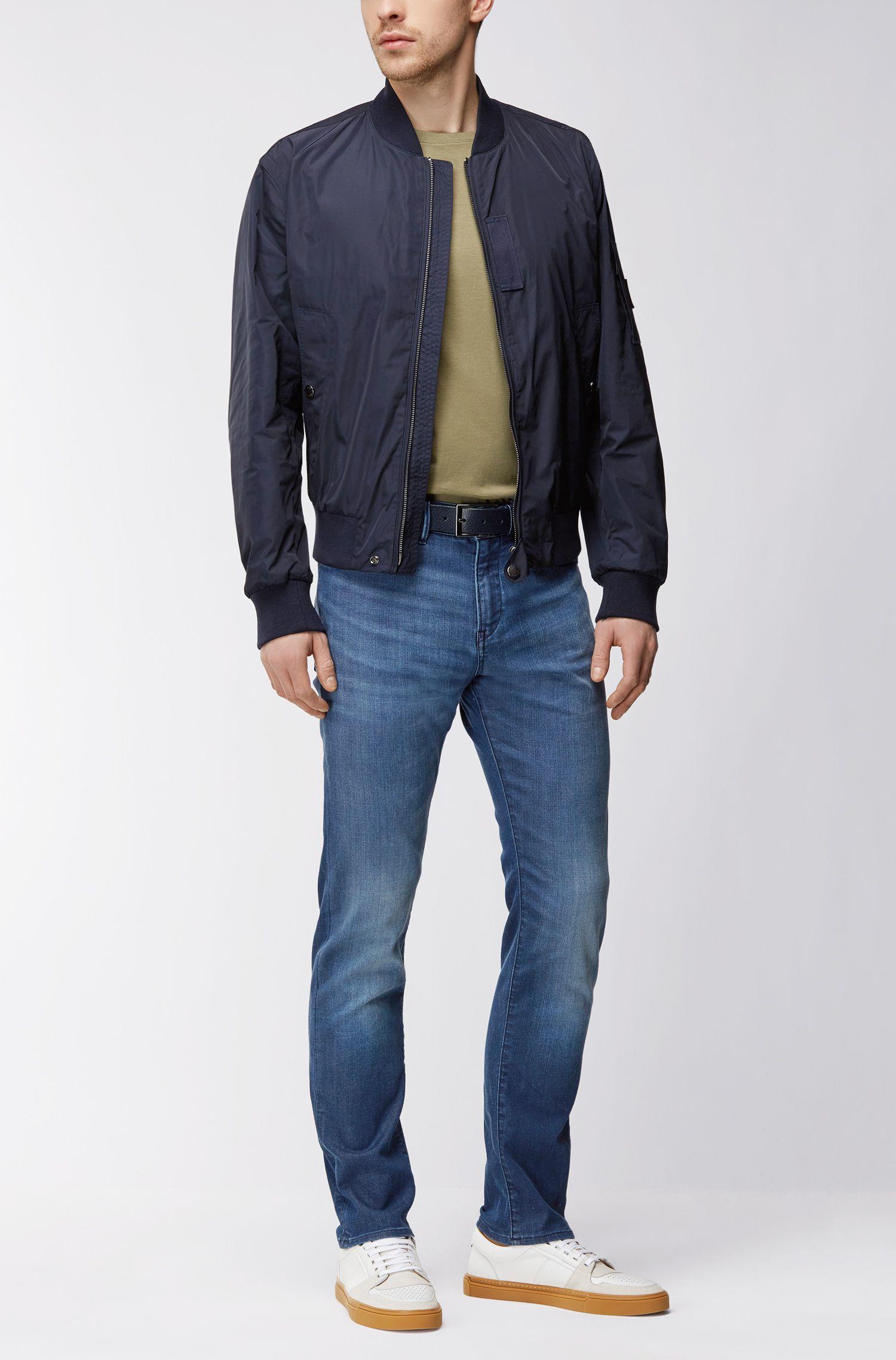 Cotton Blend Jean, Slim Fit   Delaware, Blue