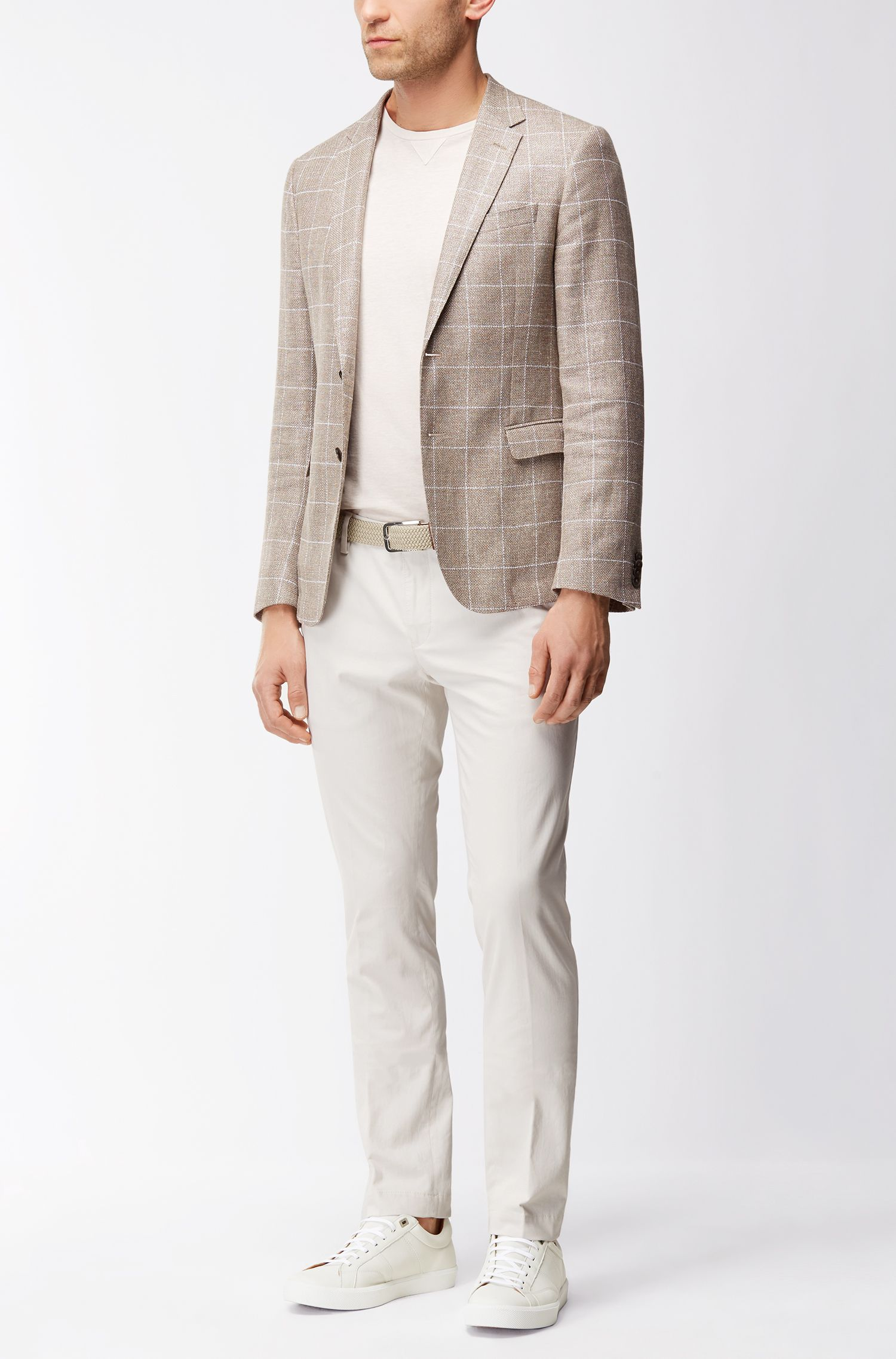 Windowpane Wool Linen Sport Coat, Slim Fit | Nobis