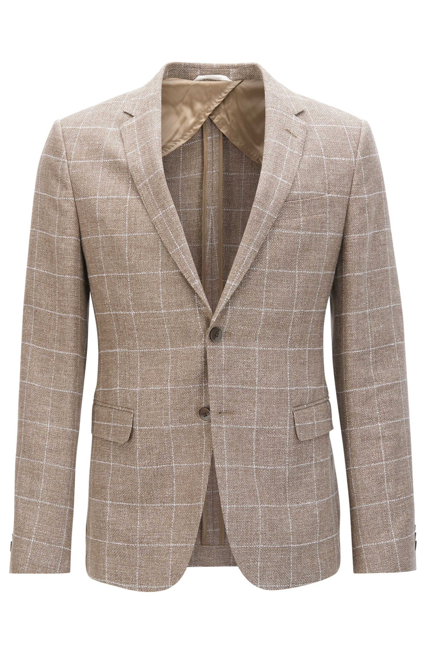 Windowpane Wool Linen Sport Coat, Slim Fit | Nobis, Beige