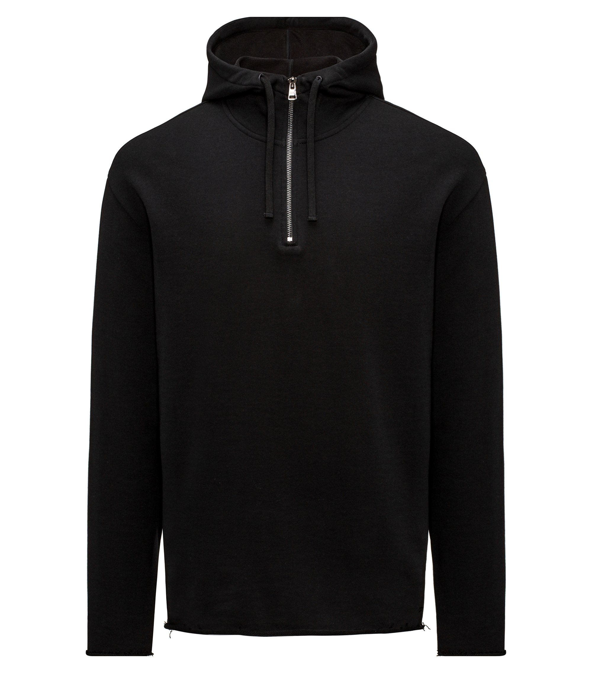 Cotton Half-Zip Hooded Sweatshirt | Dolonel, Black